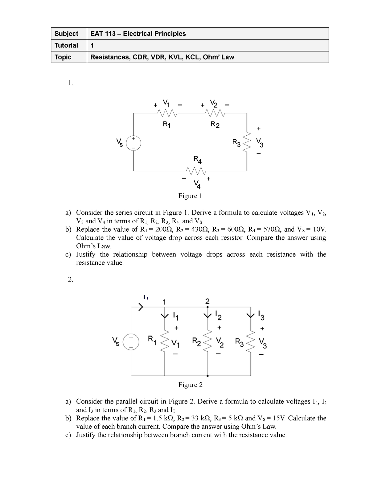 Drop Across Resistor R 1 Voltage Drop Across Resistor R 2 Voltage Drop