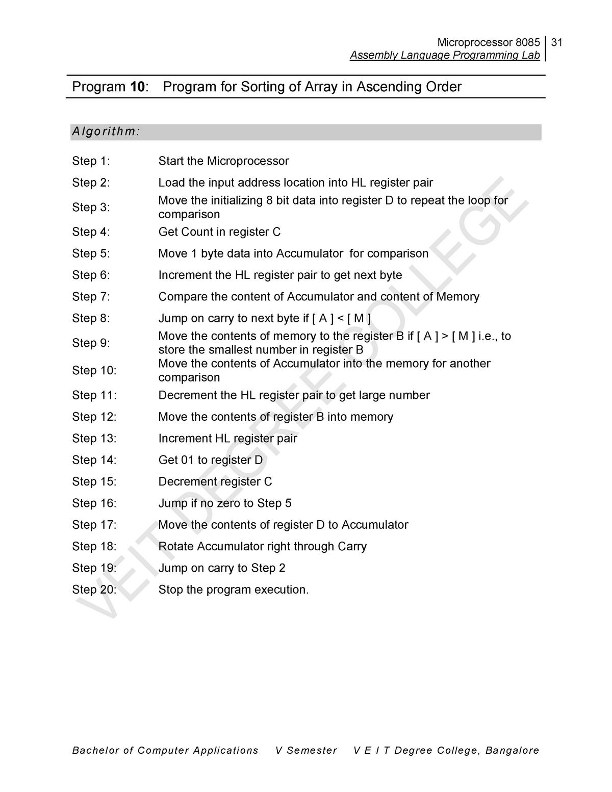 Program 10 - EL 205P: Pract  I Advanced microprocessors