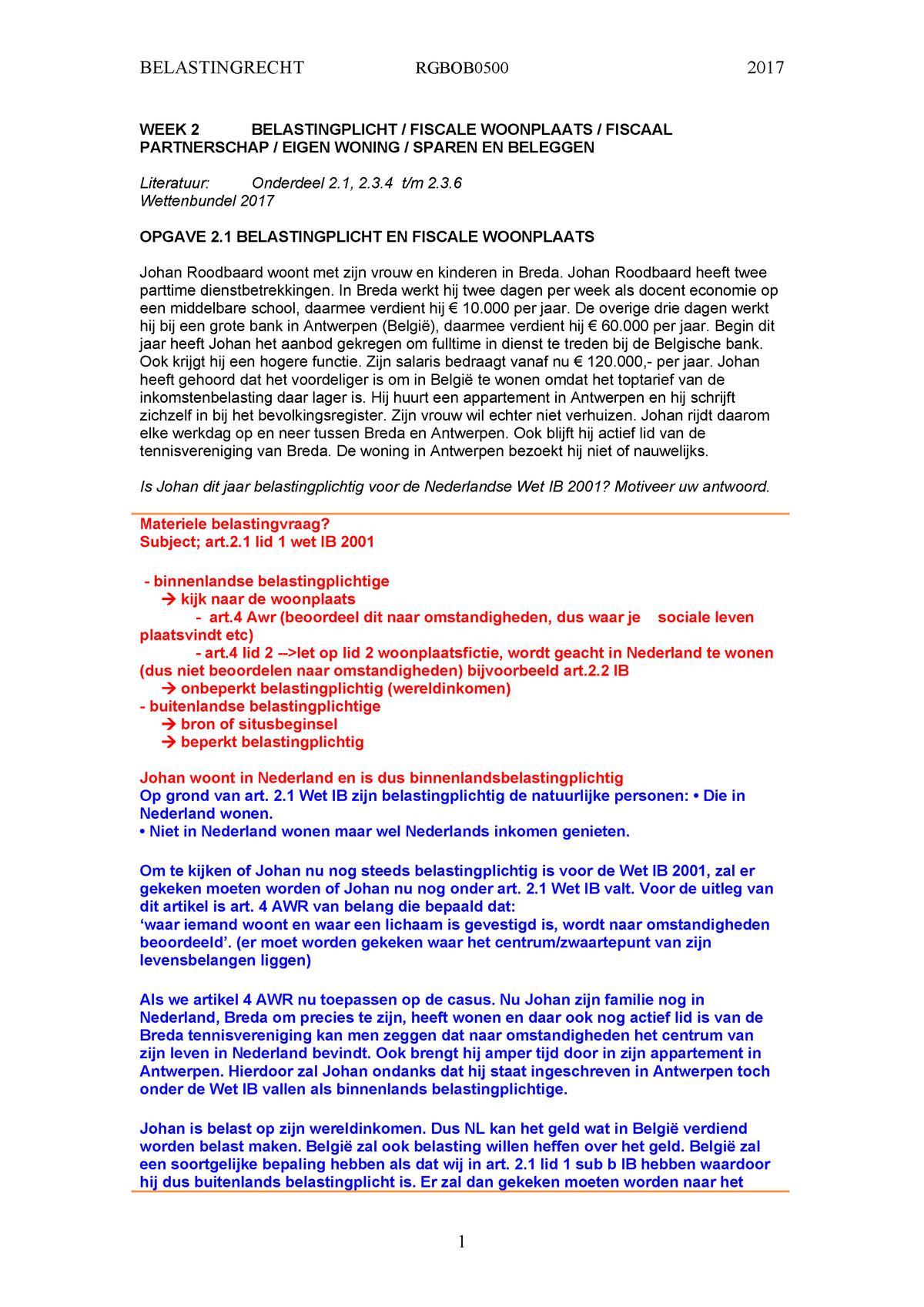 Belastingrecht week 2 (Belastingplicht partner Eigen Woning
