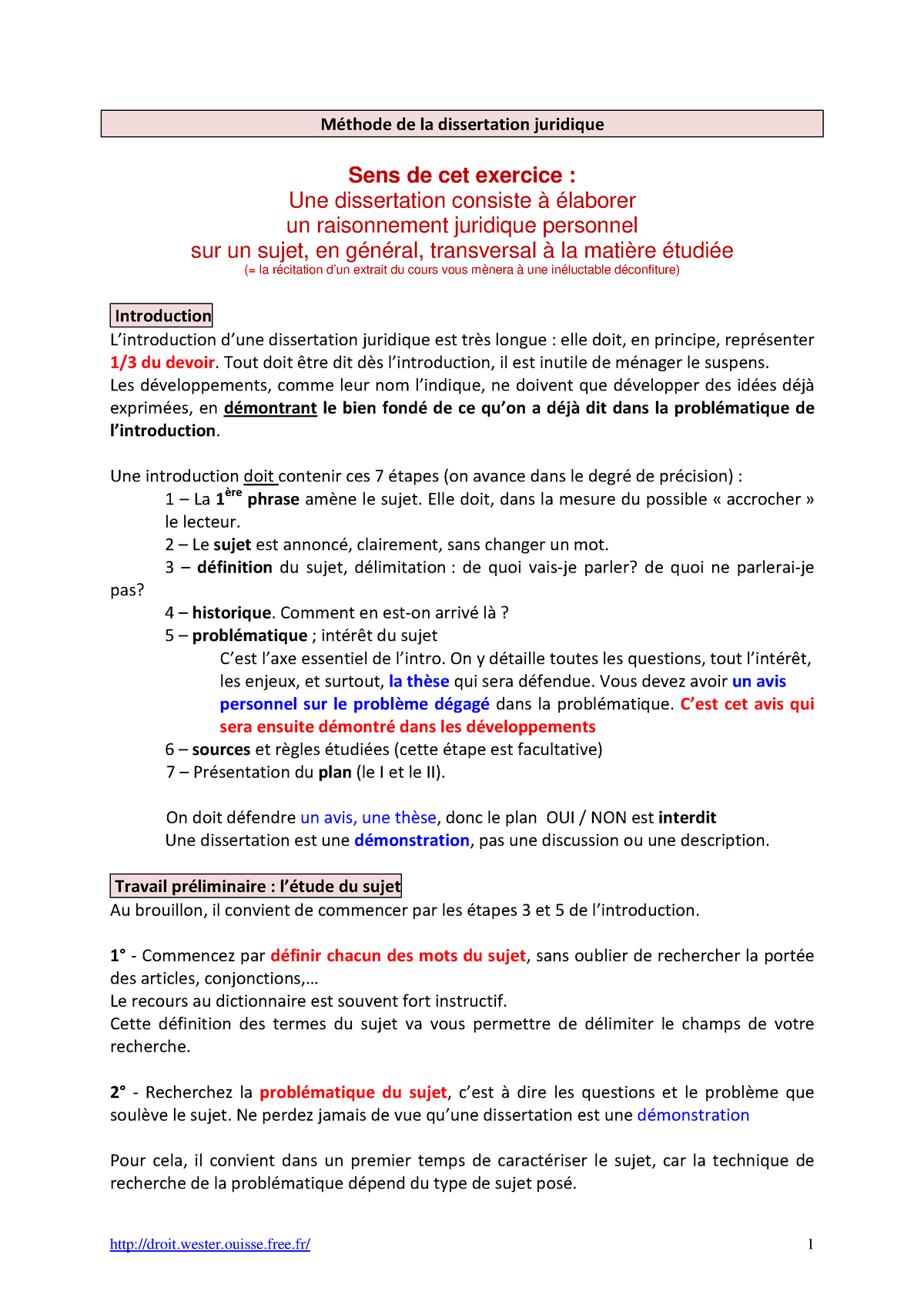 exercices corriges de dissertation juridique pdf