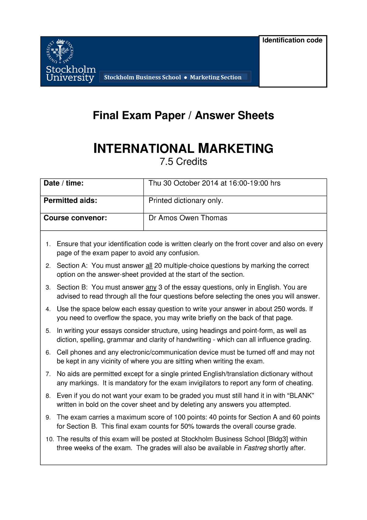 Final and Re-Sit Exam papers of International Marketing 2014