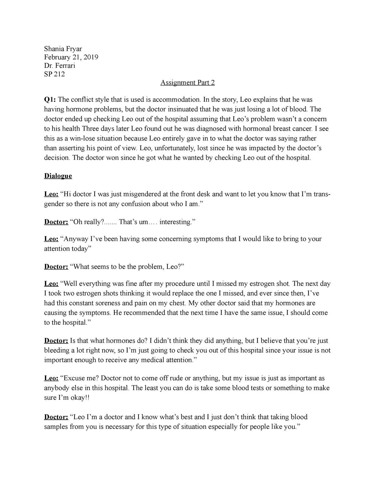 Assignment Part 2 - SP 20: Improving Speech Skills - StuDocu