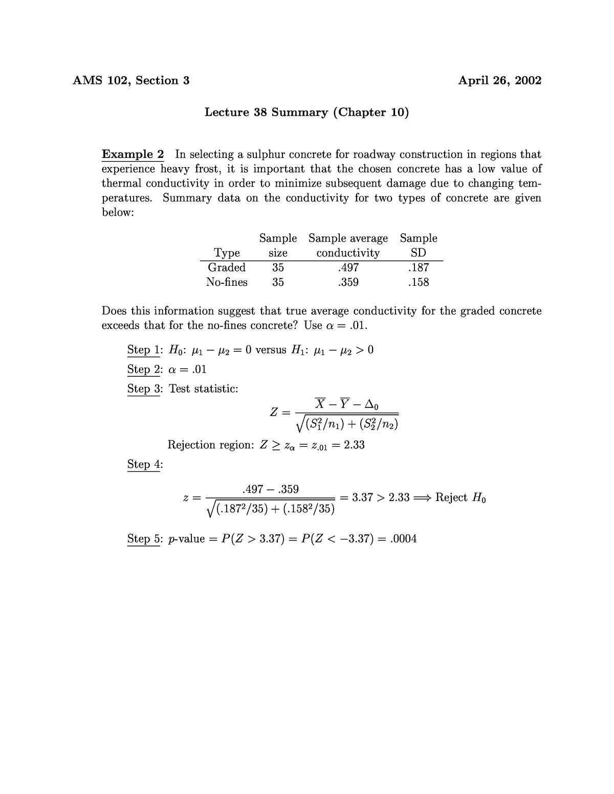 Lecture 38 - Comparing Two Treatments - Examples 1-2 - AMS-S