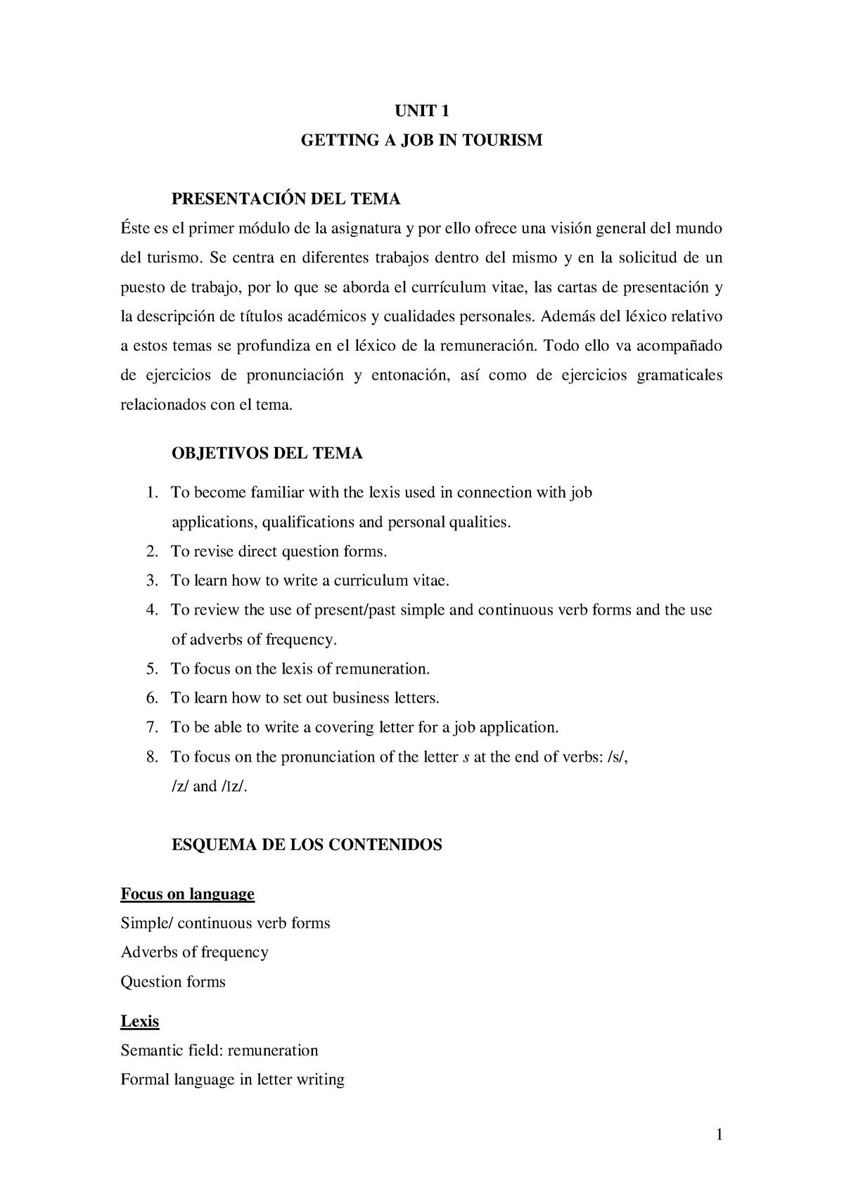 UNIT 1no solutions actualizada - 41300: inglés turístico i - StuDocu