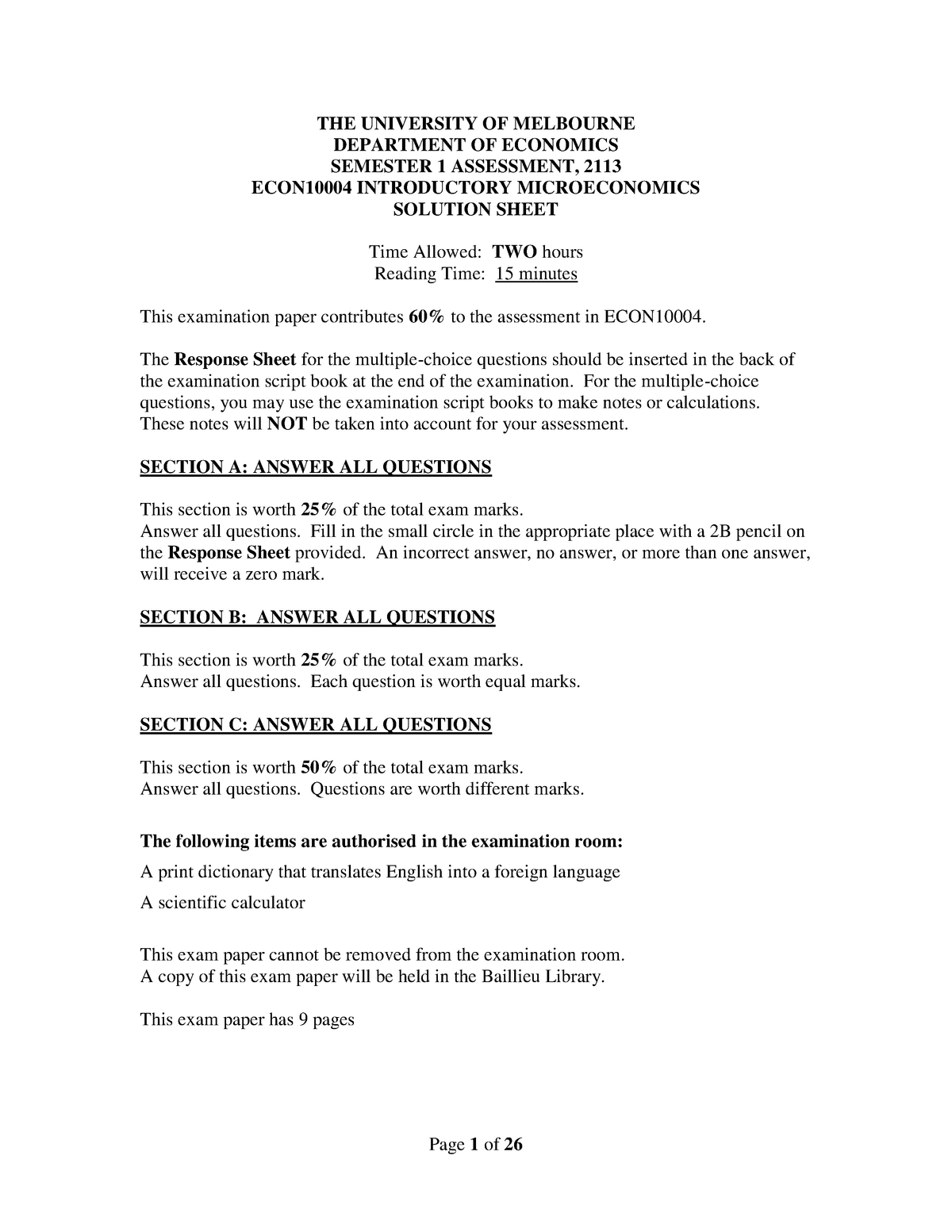 Exam Sem 1 2013 Questions and Answers doc - ECON10004 - StuDocu