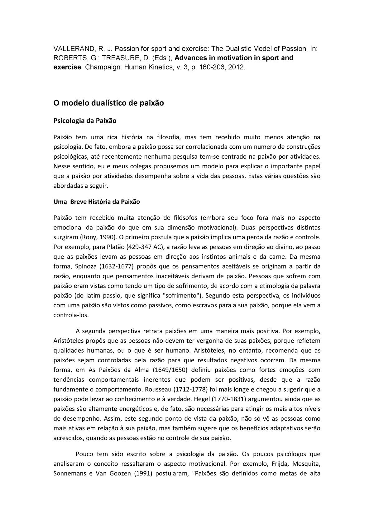 O Modelo Dualístico De Paixão Pm32o Utfpr Studocu