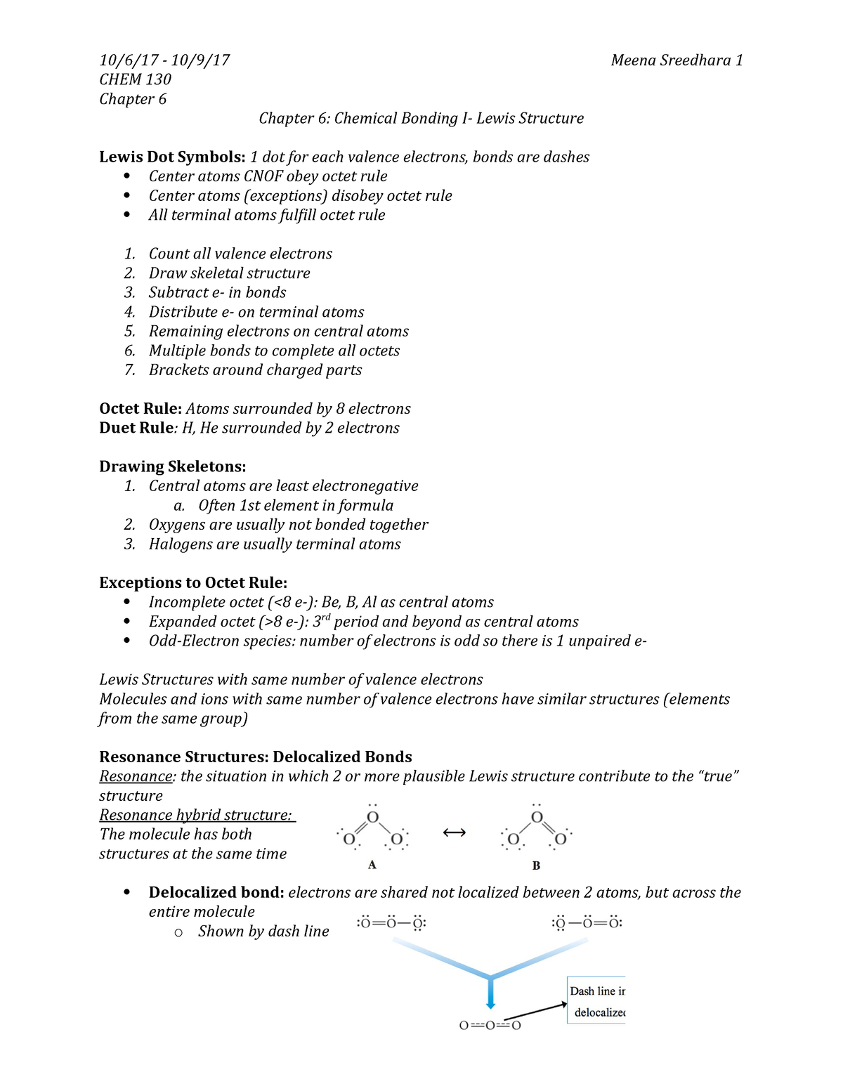 CHEM 130 Chapter 6 Notes - Chem 170: Foundations of
