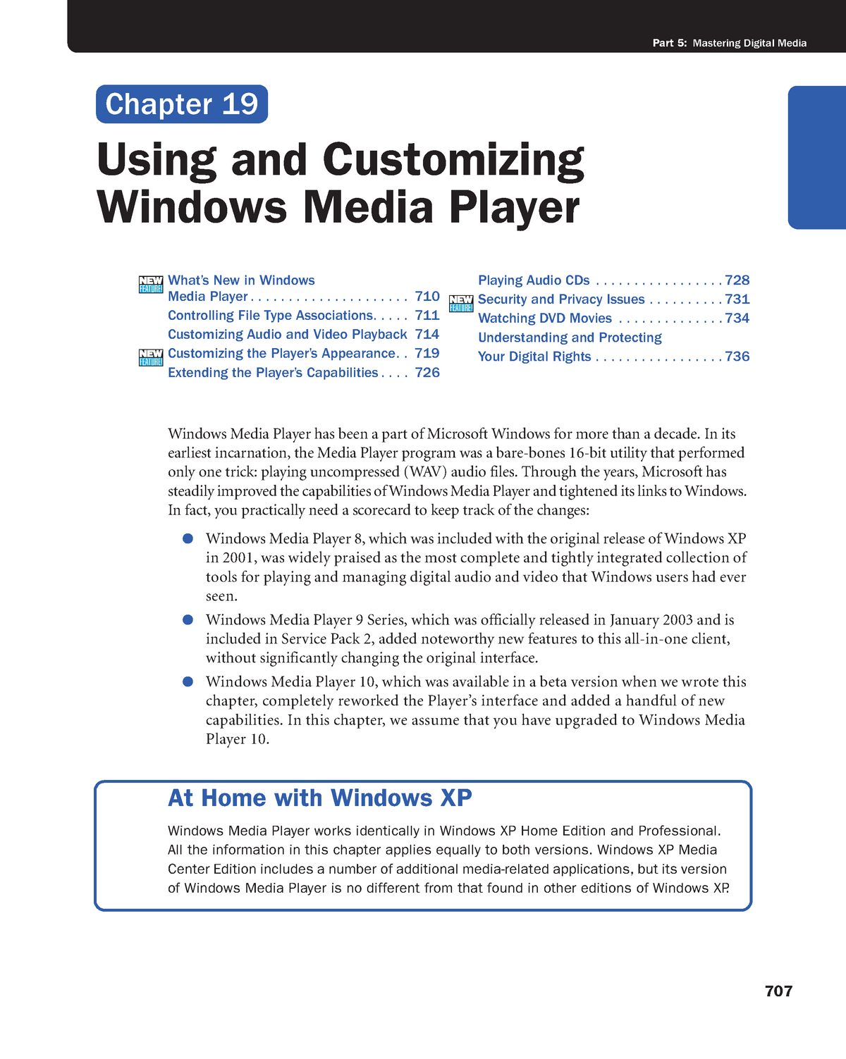 Chapter 19 - Using and Customizing Windows Media Player