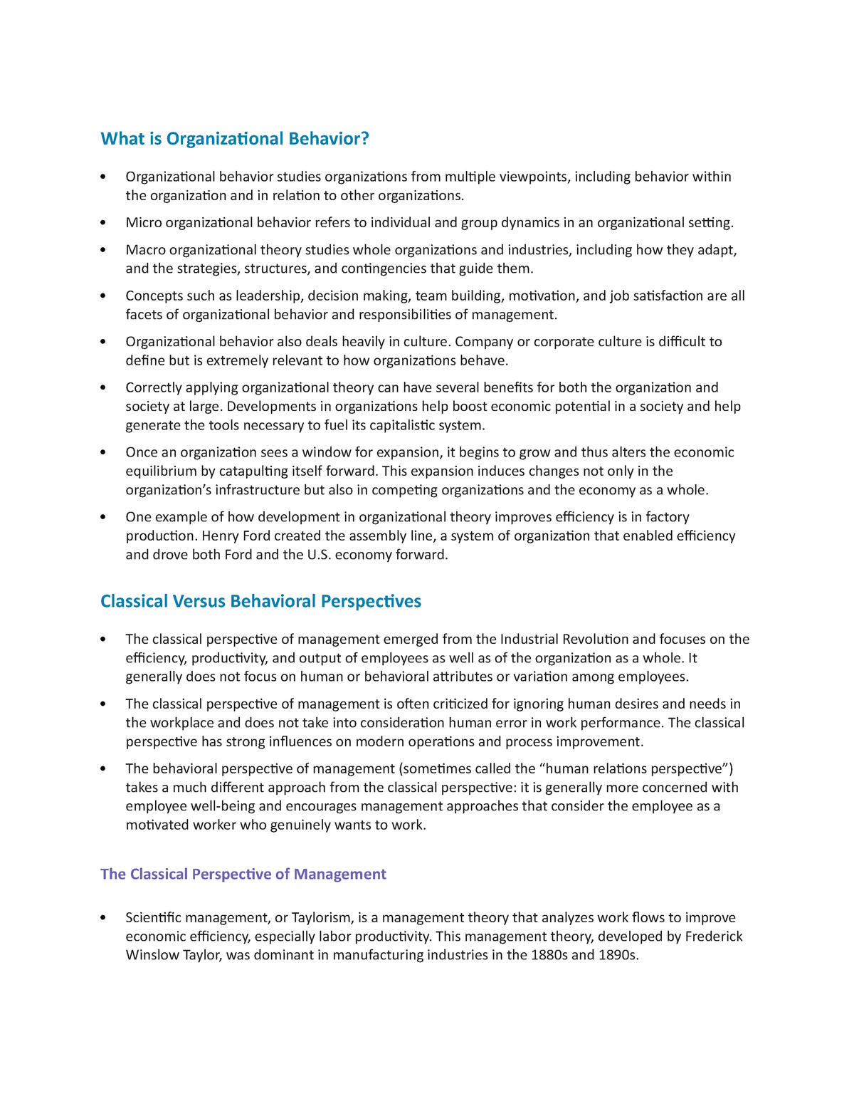 Organizational Behavior Notes - Organisation Behaviour - StuDocu