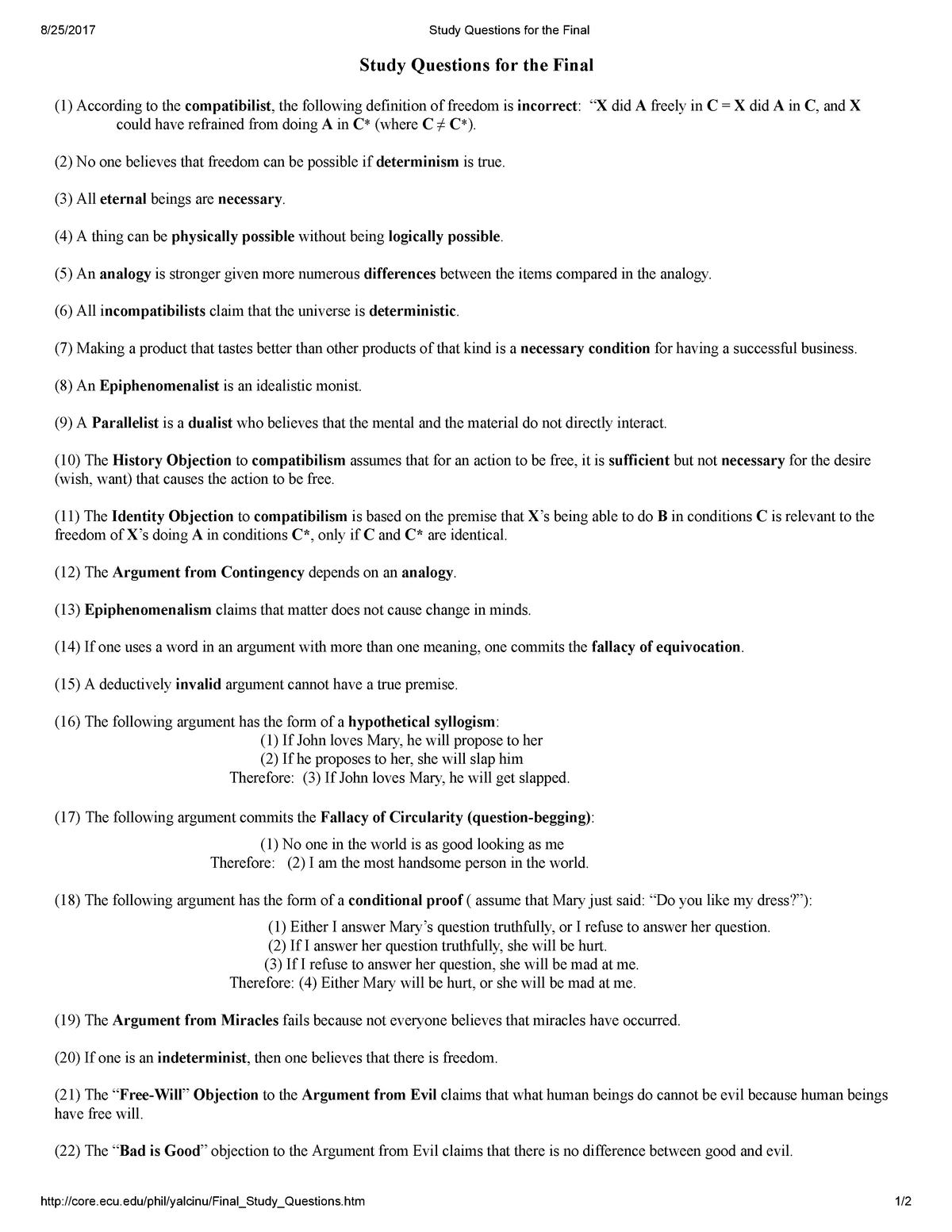 Study Questions for the Final - PHIL 1110: Introduction To