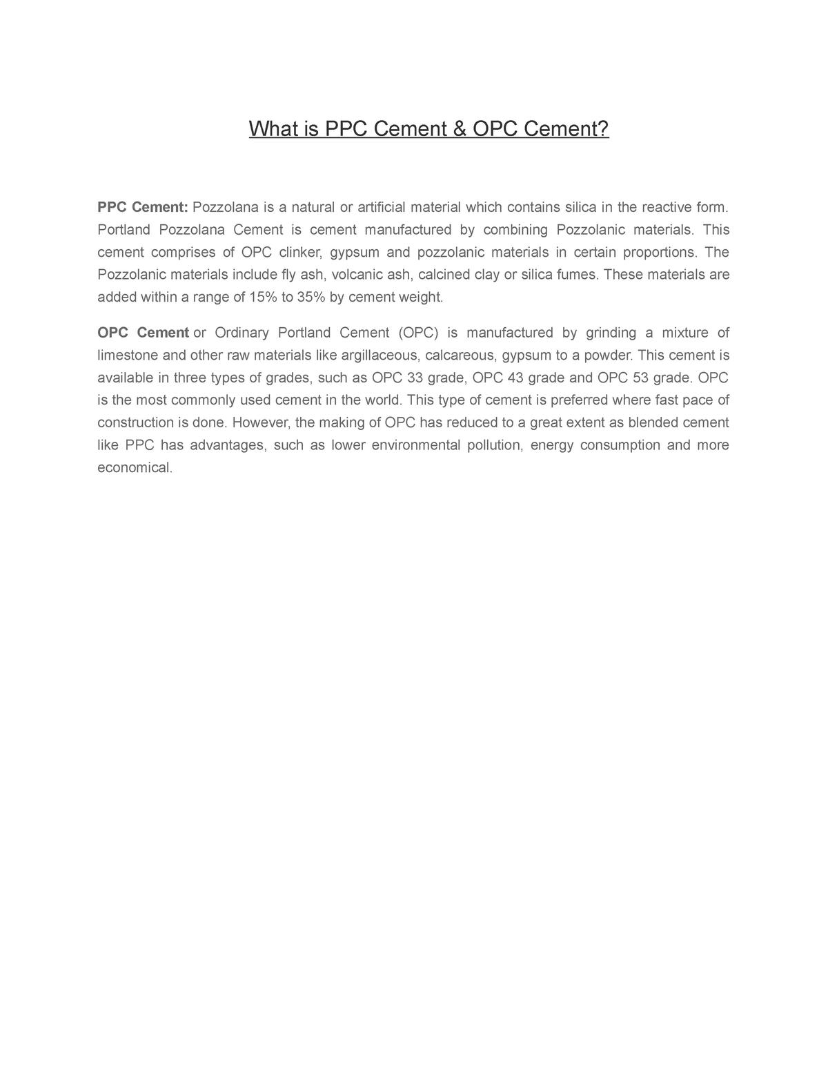 What is PPC & OPC Cement - Professor Saiful bari - ME-233