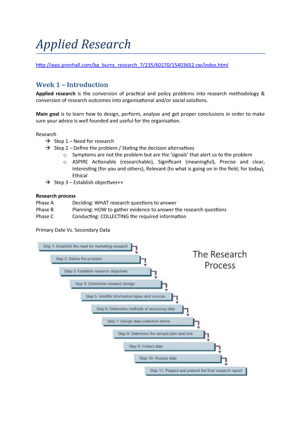 Summary Marketing Research lectures - JIC-APP 1V-11 - StuDocu