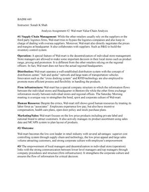 Walmart - case study - BADM 449: Business Policy And Strategy - StuDocu