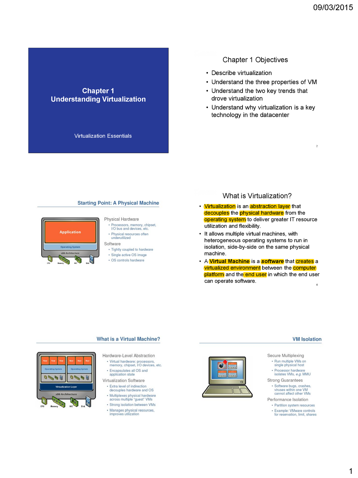 VM 1 - Lecture notes 8 - CSIS 2270: Virtualization and Computer