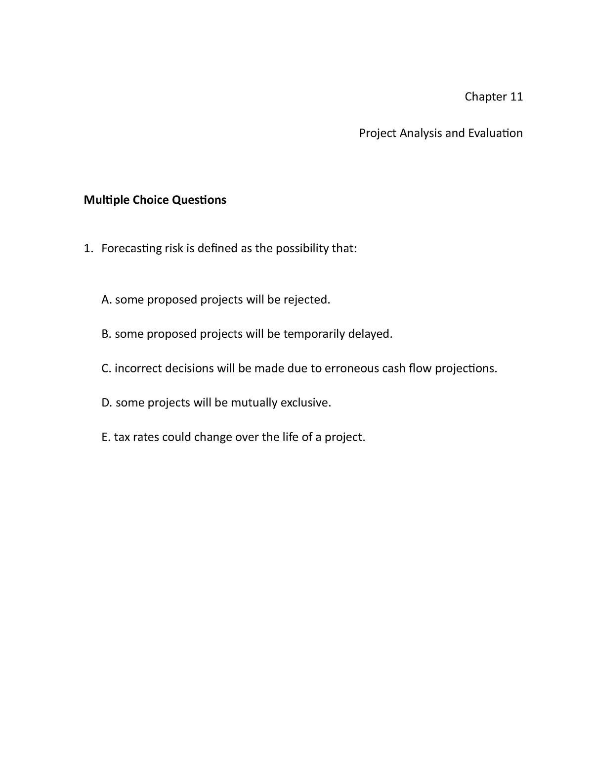Chap011 - Test Bank - Chapter 11 - API 141: Finance - StuDocu