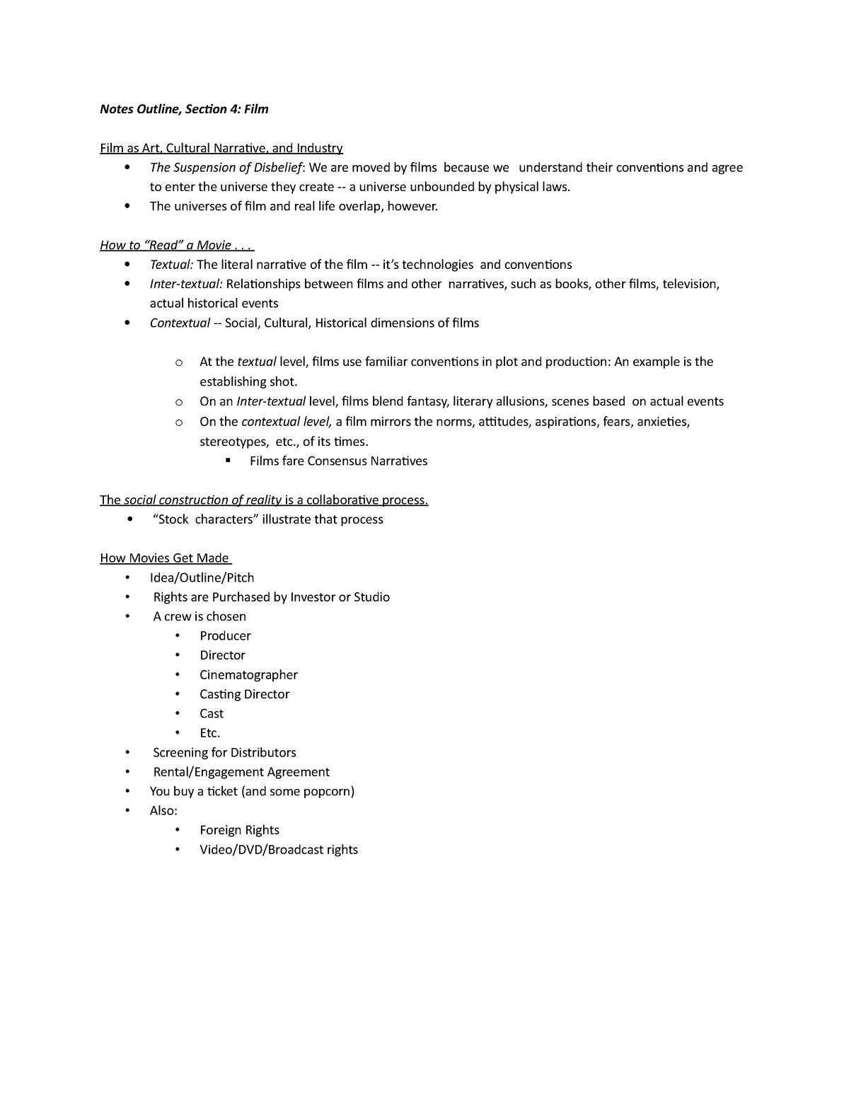 Notes Outline   Film   Notes Outline, Section 20 Film Film as Art ...