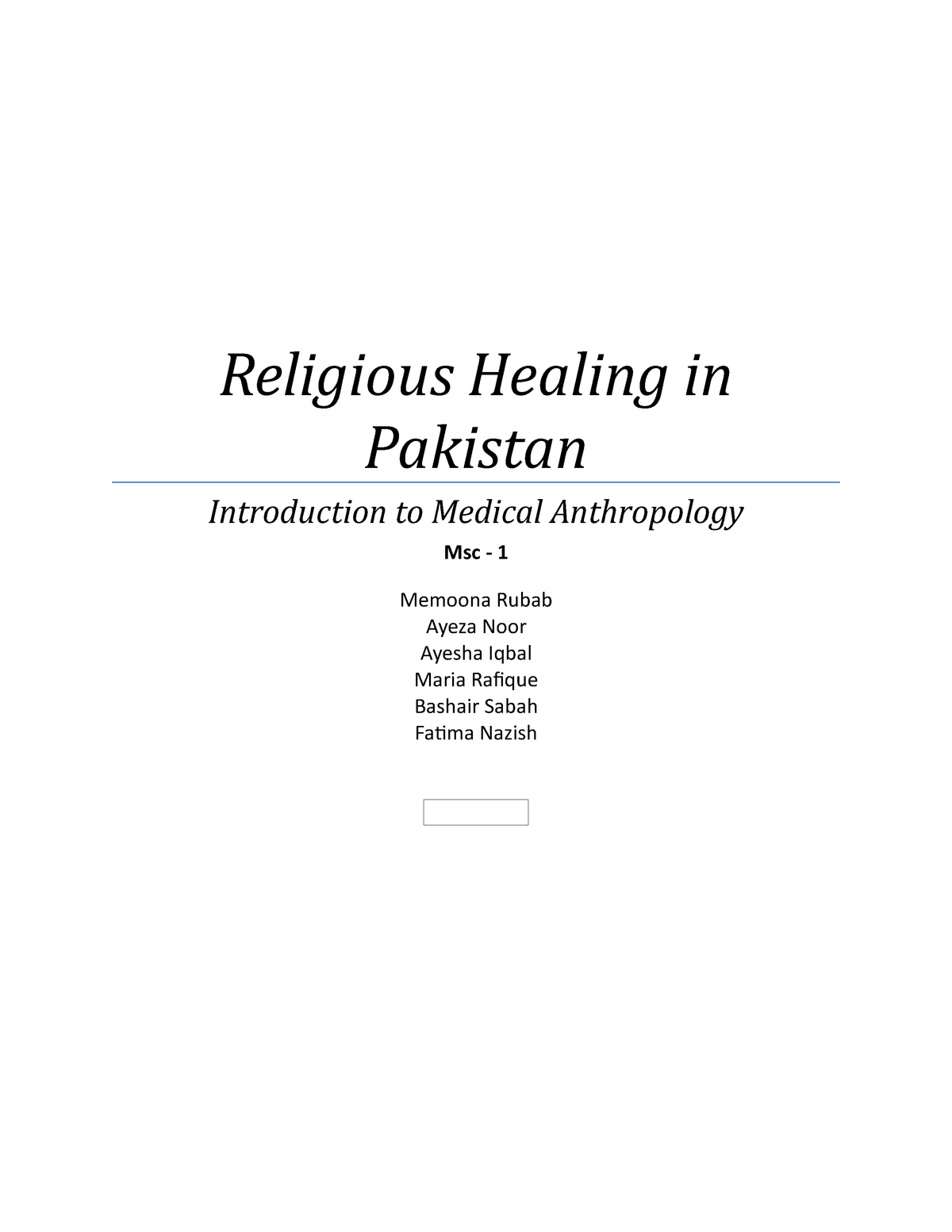 Religious Healing in Pakistan - Write-Up - Social Change