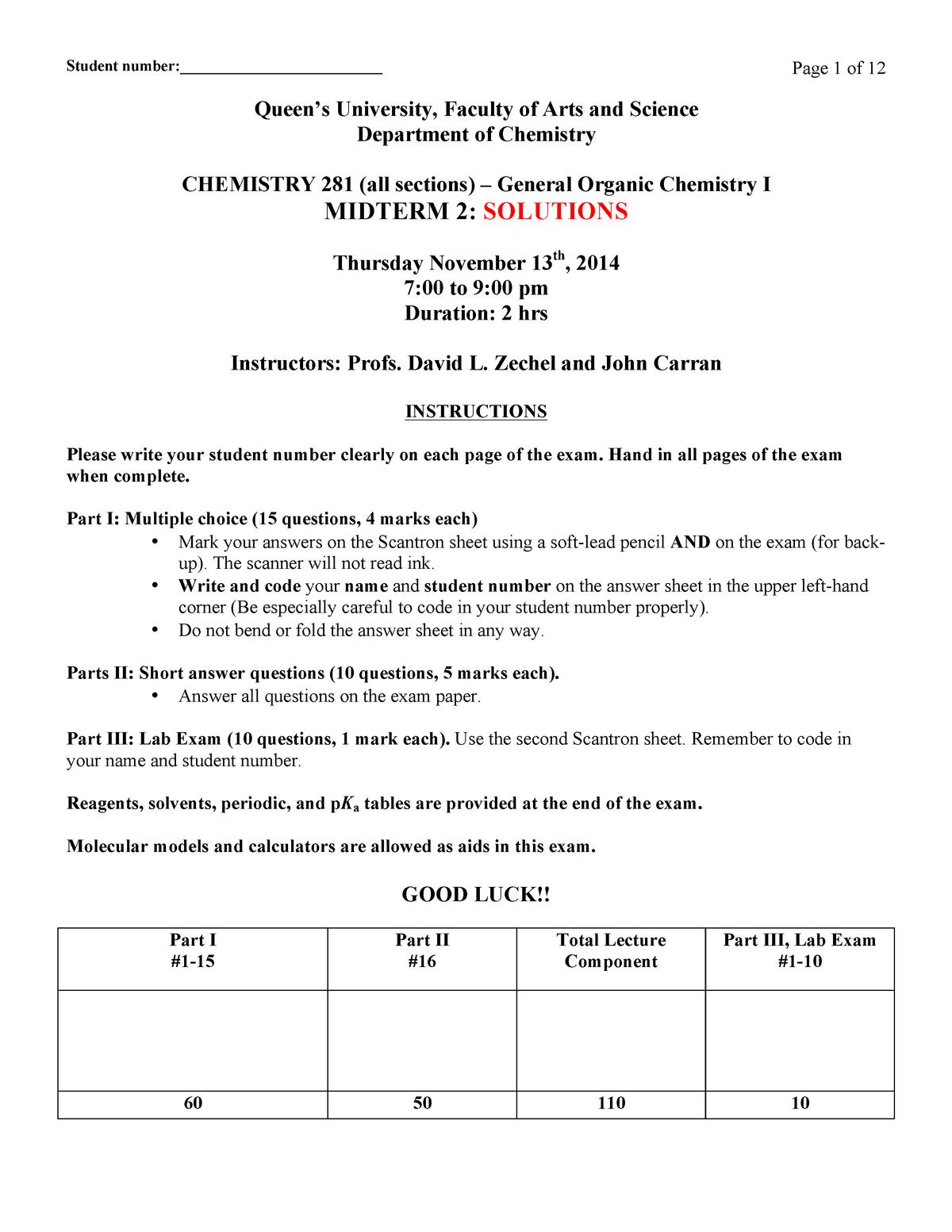 Exam 2014 - Chem 281: General Organic Chemistry I - StuDocu