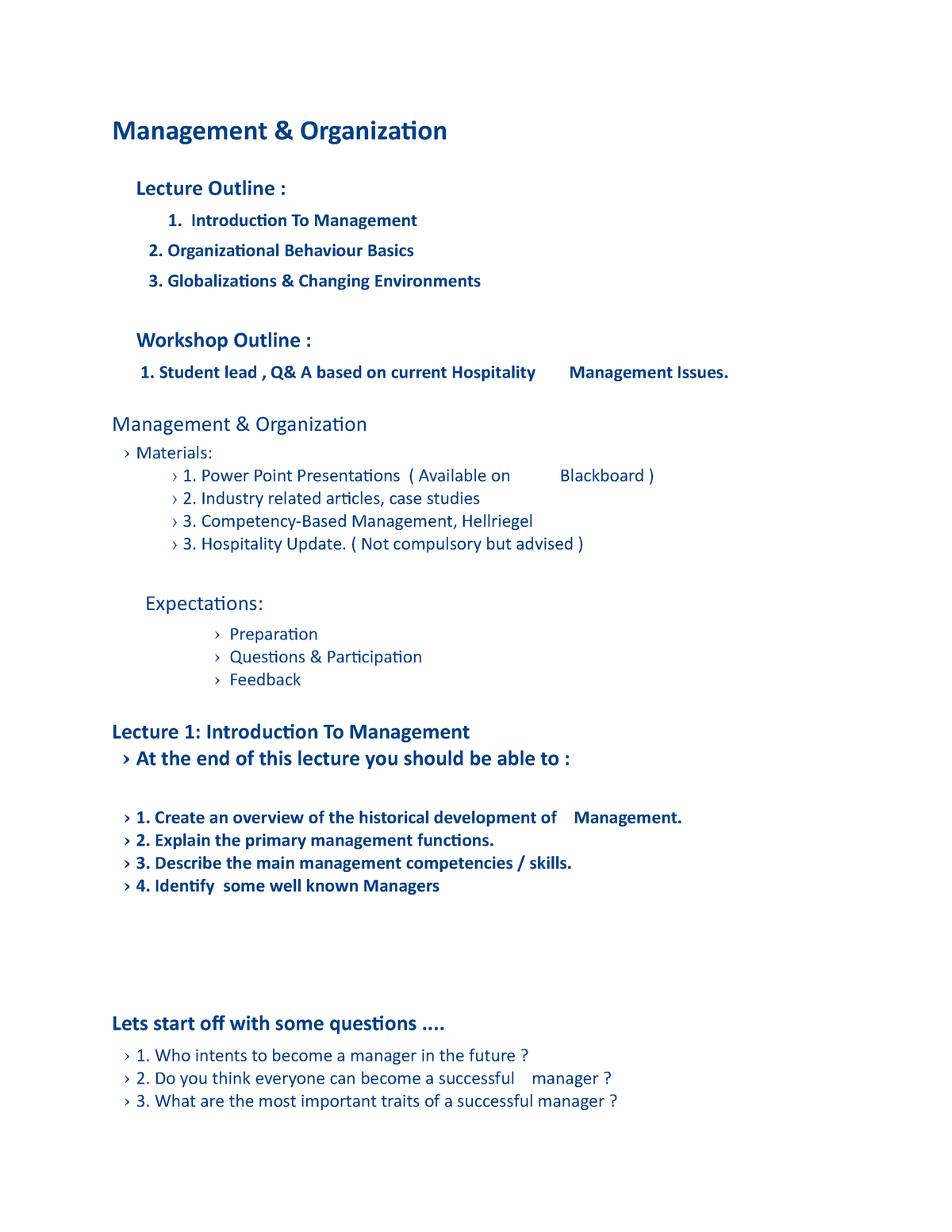 Samenvatting Management - M - StudeerSnel nl