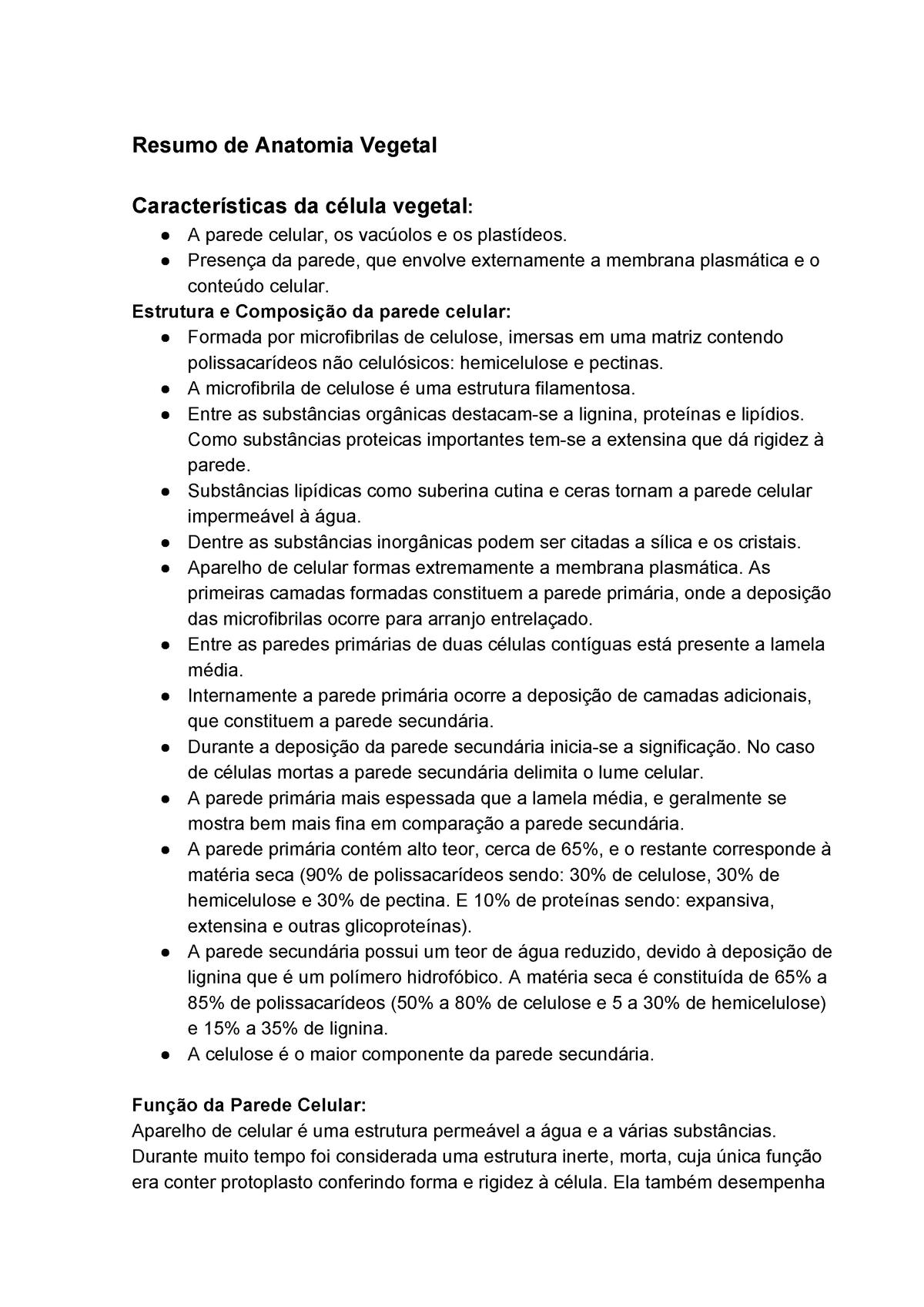 Anatomia Vegetal 1prova Icb0033 Ufg Studocu