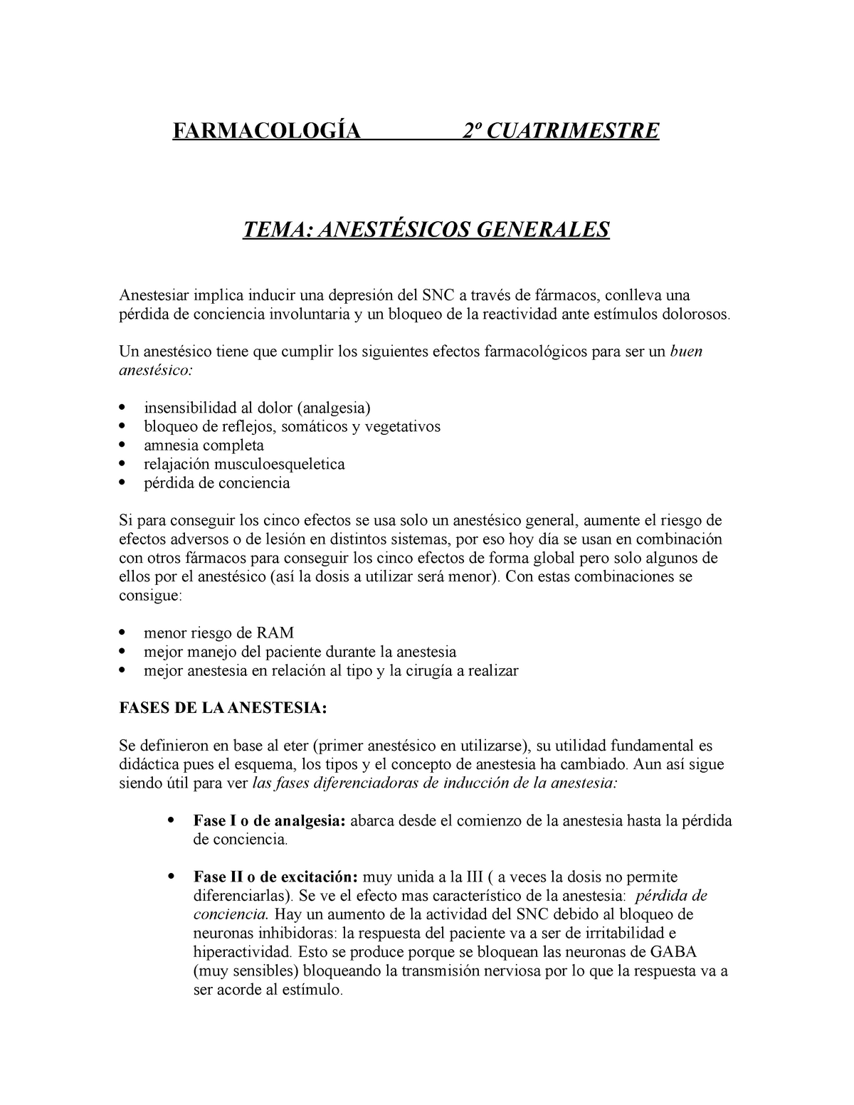 Apuntes Anestesicos Generales - Farmacologia - StuDocu