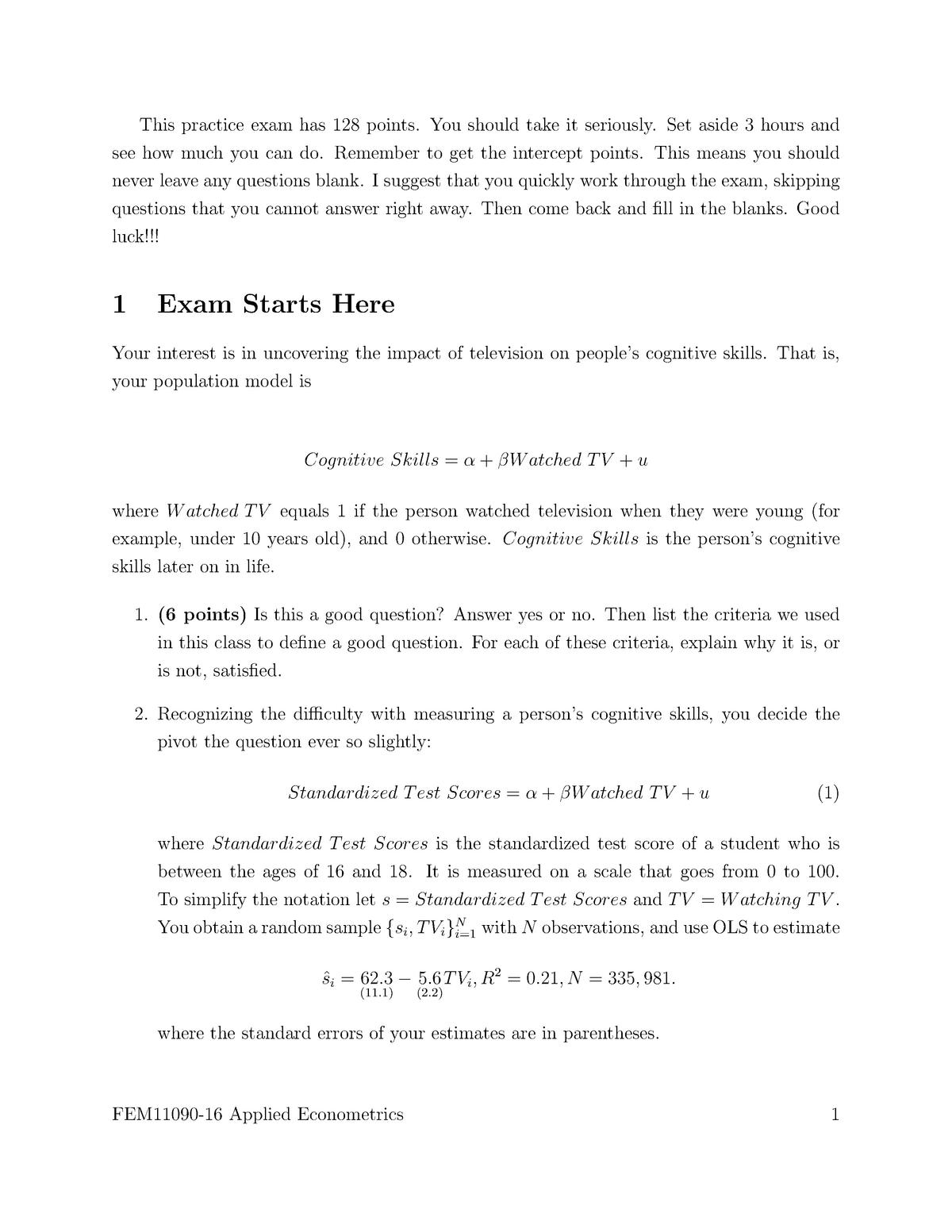 Exam 2016 - FEM11090: Applied Econometrics - StuDocu