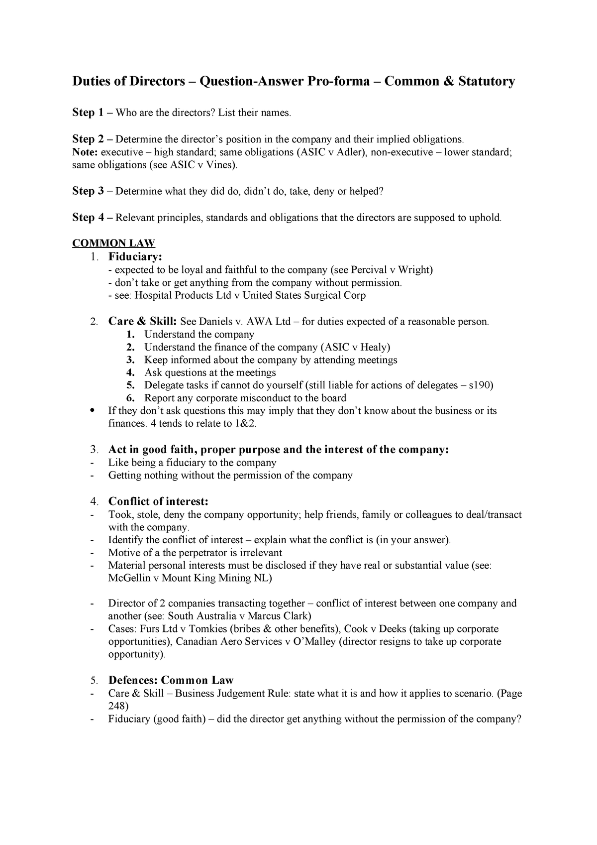 Duties of Directors - Exam Notes - Company Law LAW2450 - StuDocu