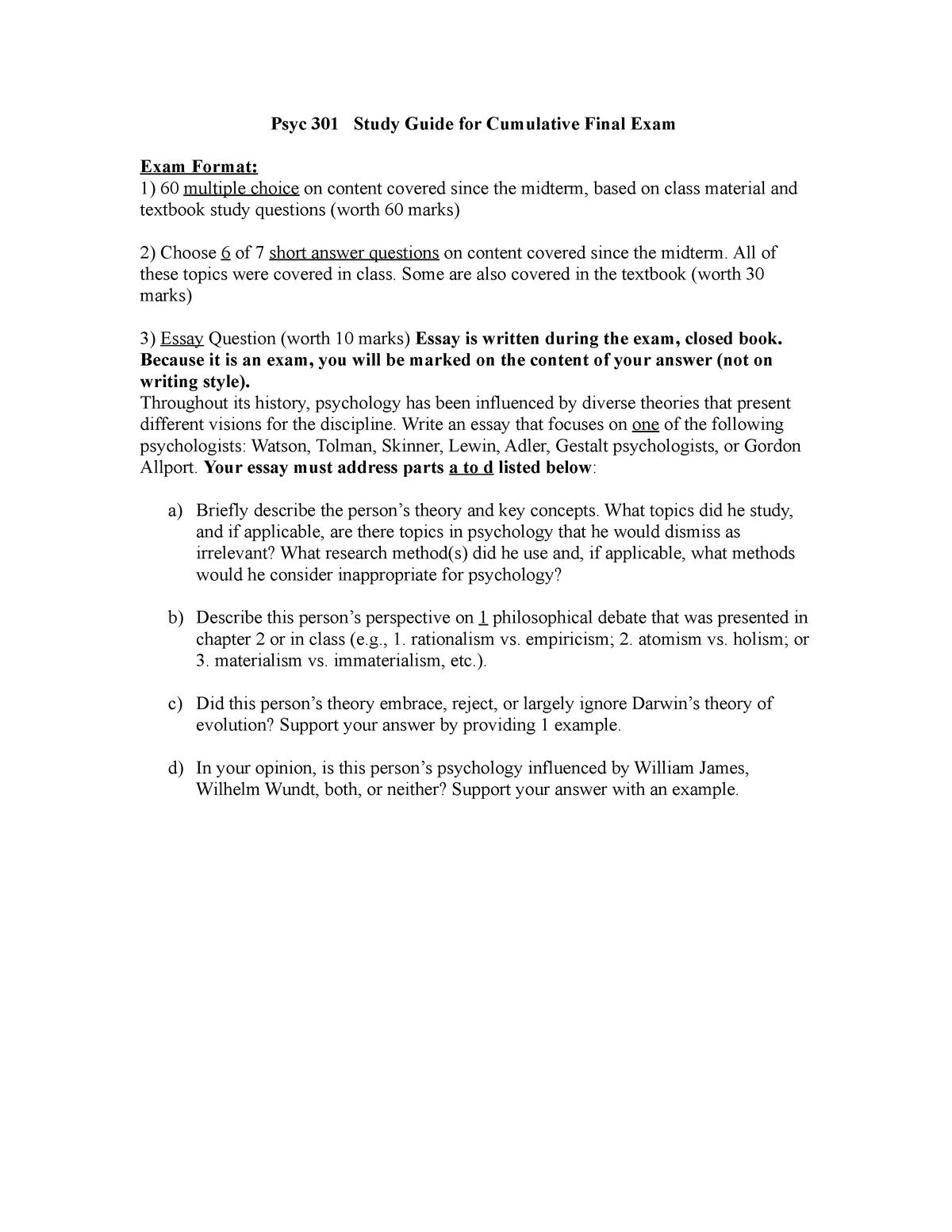 Final Exam, Practice Questions, Study Guide - PSYC 301 - StuDocu
