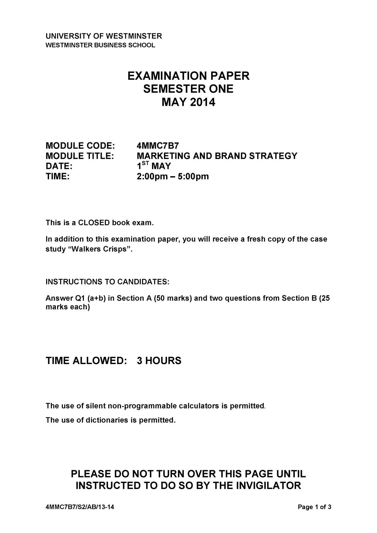 b5b3c2ce25 Exam 2014 - BMKT602: Marketing Planning and Strategy - StuDocu