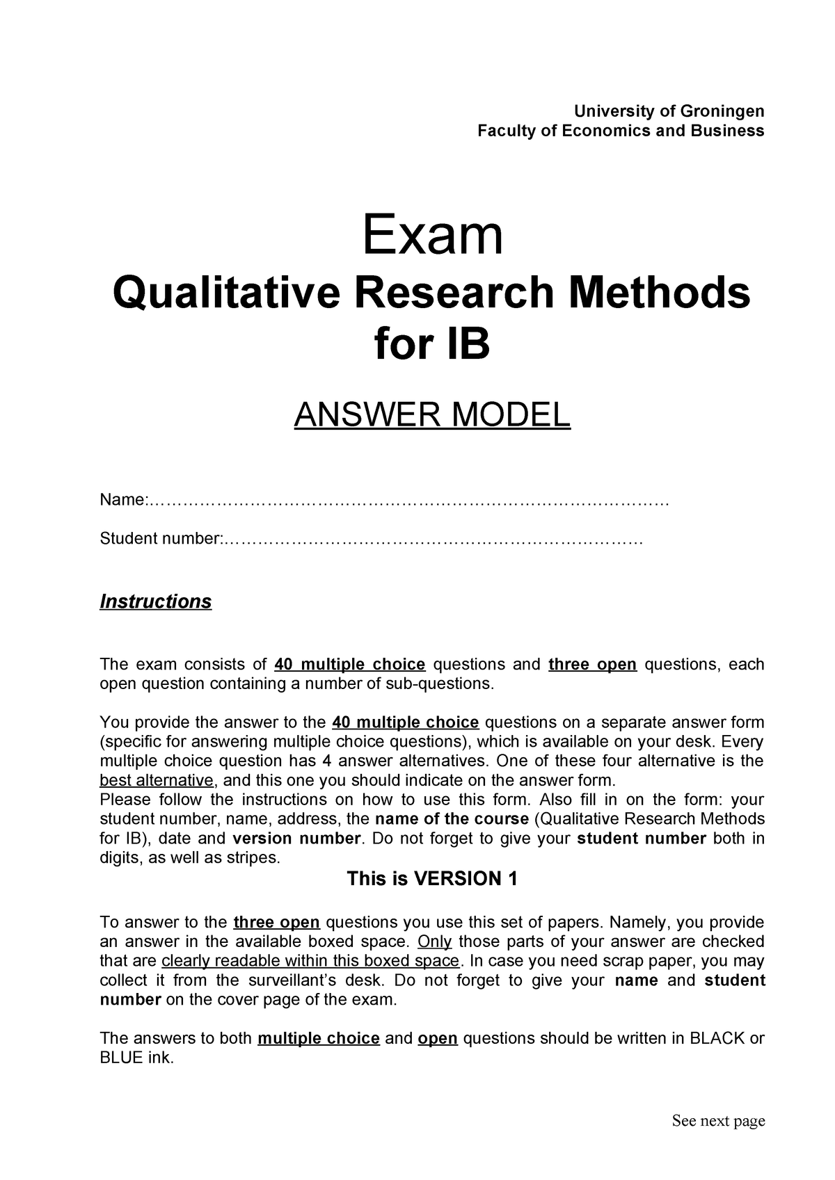 Sample/practice exam 9 April 2015, questions and answers