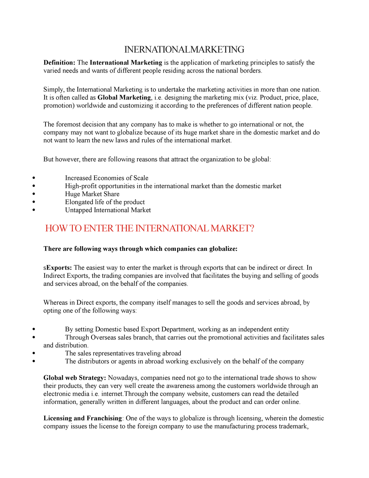 International - marketing notes - 3201: Business