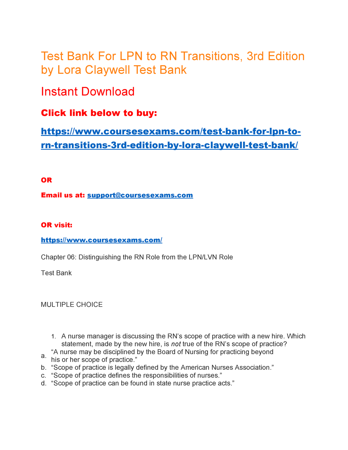 Test Bank For LPN To RN Transitions 3rd Edition By Lora Claywell