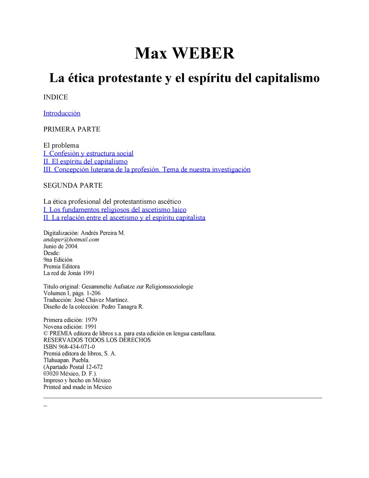 Weber Max La Etica Protestante Y El Espiritu Del Capitalismo