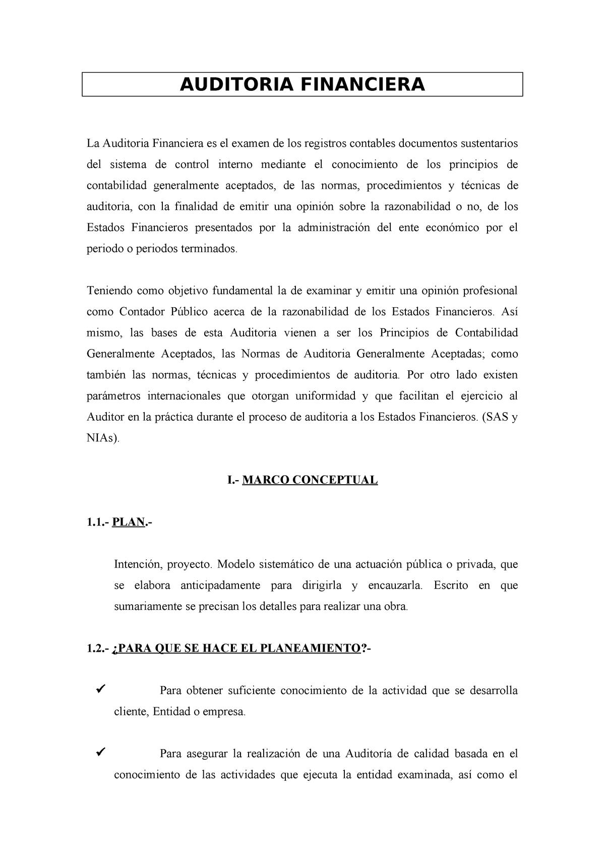 Fases De La Auditoria Financiera Contabilidad Upla Studocu