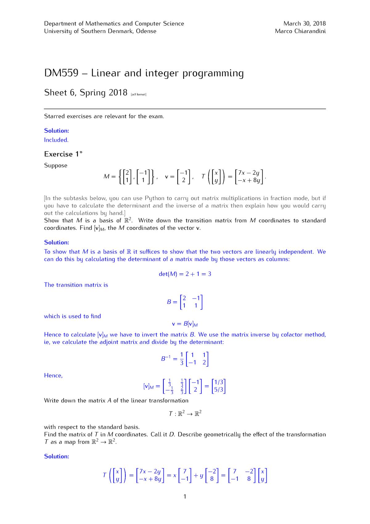 Sheet 6 - Mathematics 1 MPH101 - StuDocu
