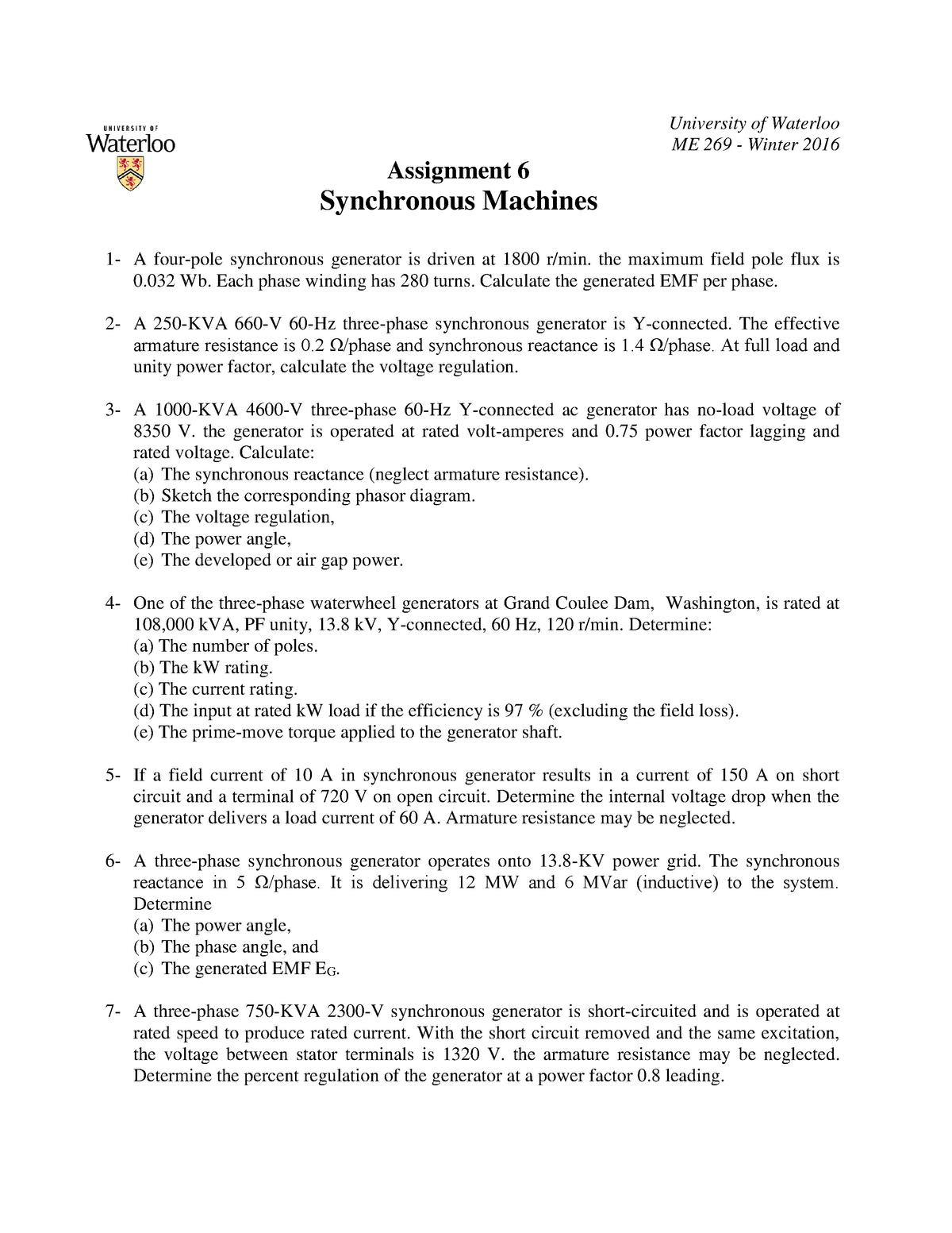 A6 - Study reference - Me 269: Electromech Dev & Power Proc