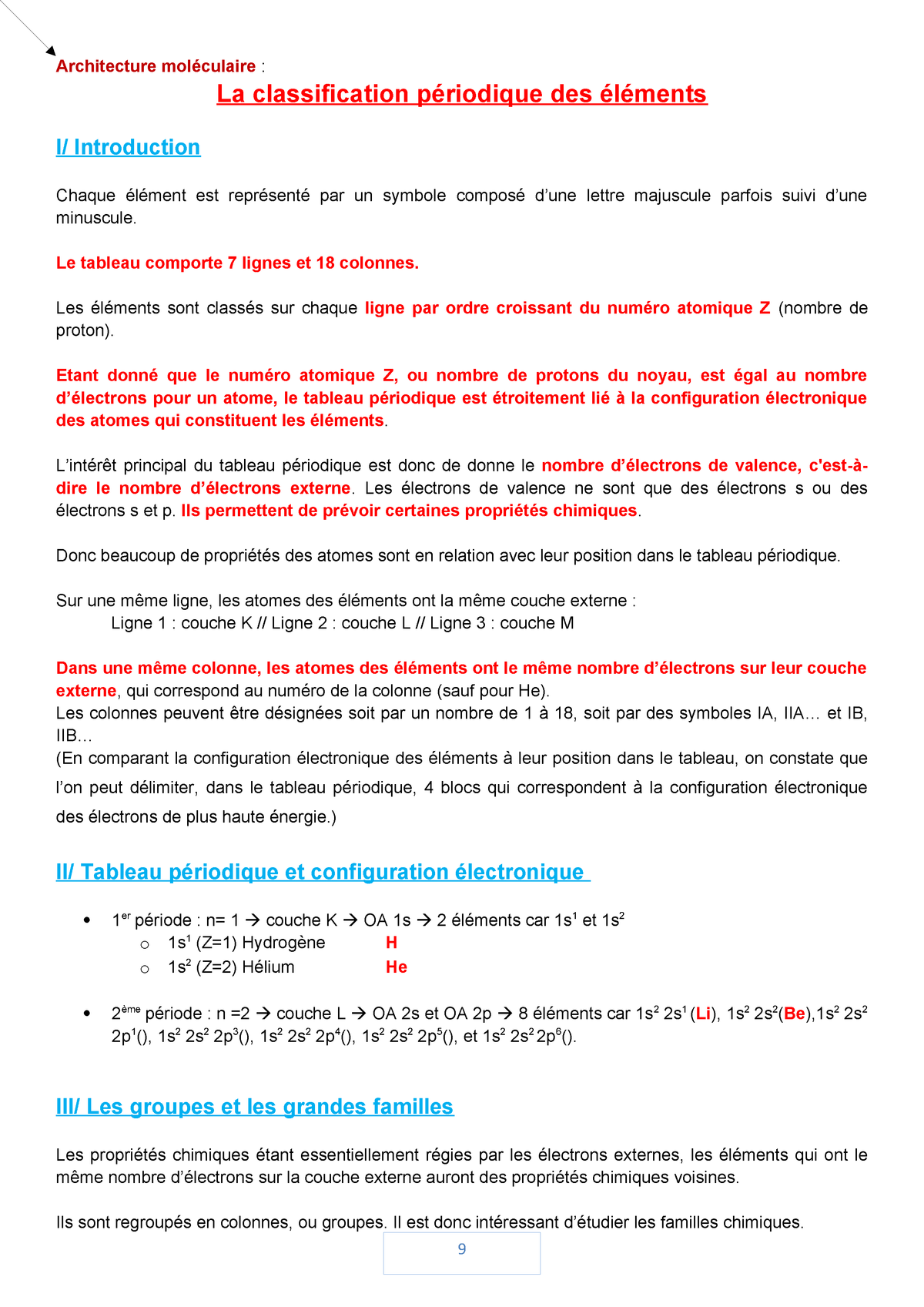 Architecture Moleculaire La Classification Periodique Des Elements Studocu