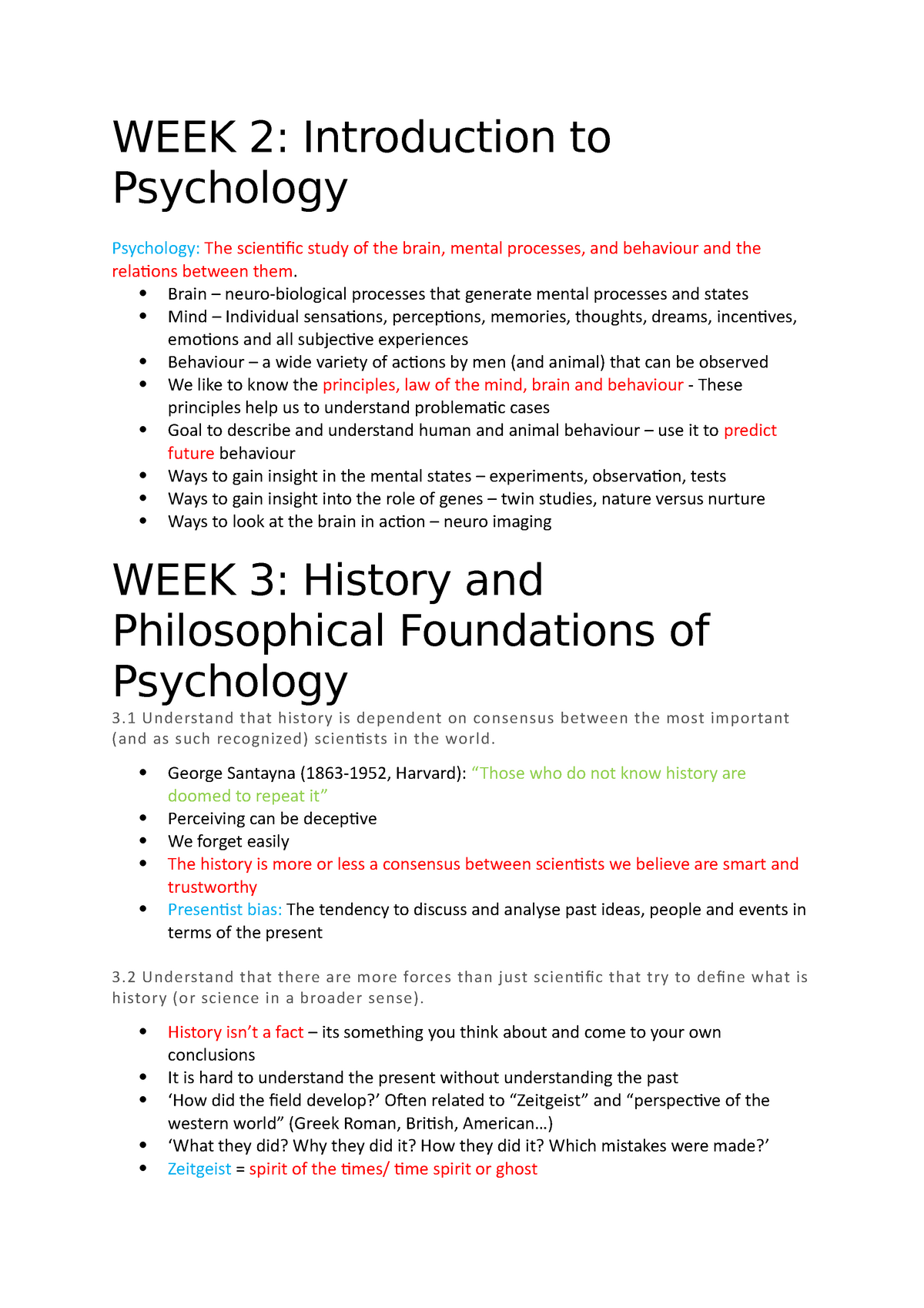 Psychology 1001 Notes - Lecture note 1-30 - PSYC1001