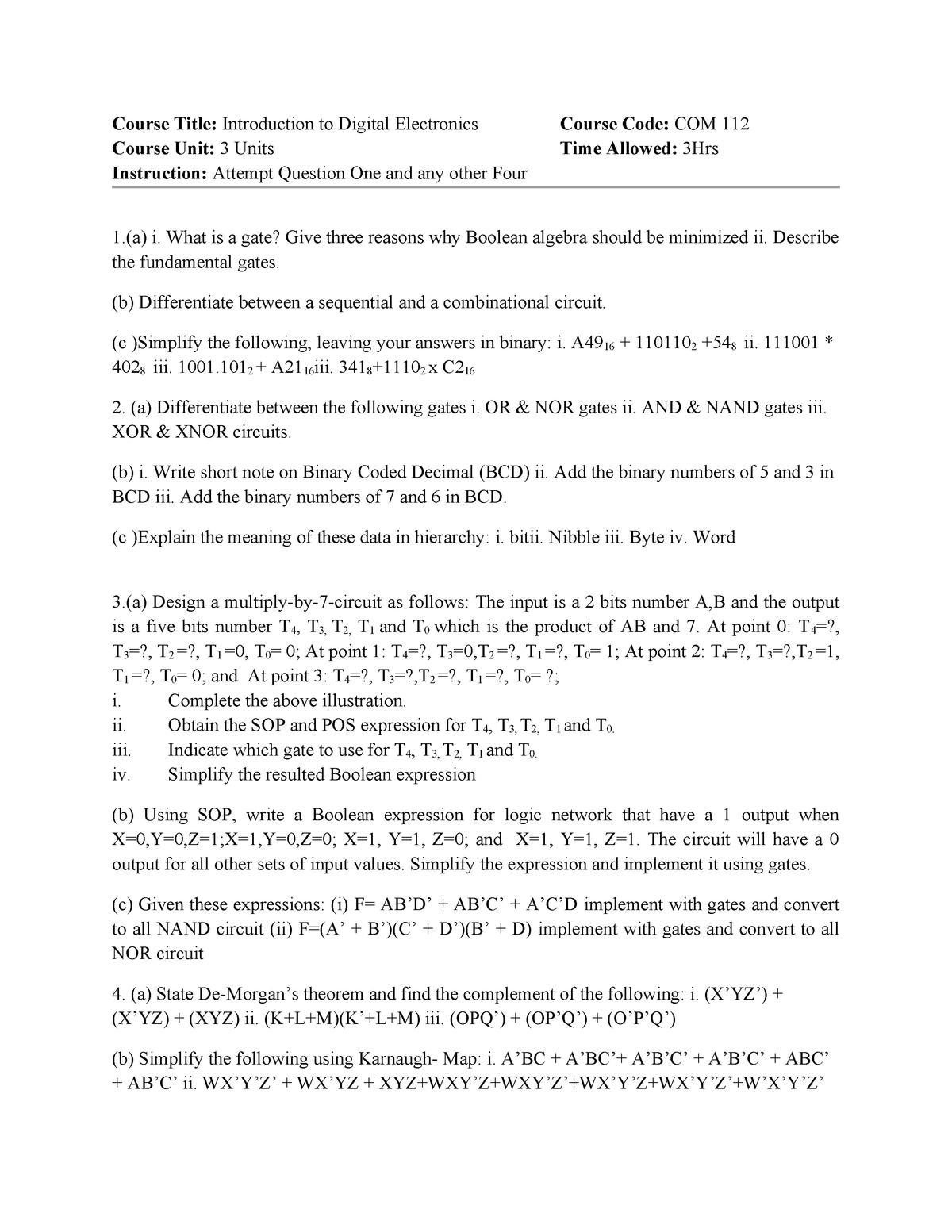 Exam 2015 - MAT121 : Intermediate Algebra - StuDocu