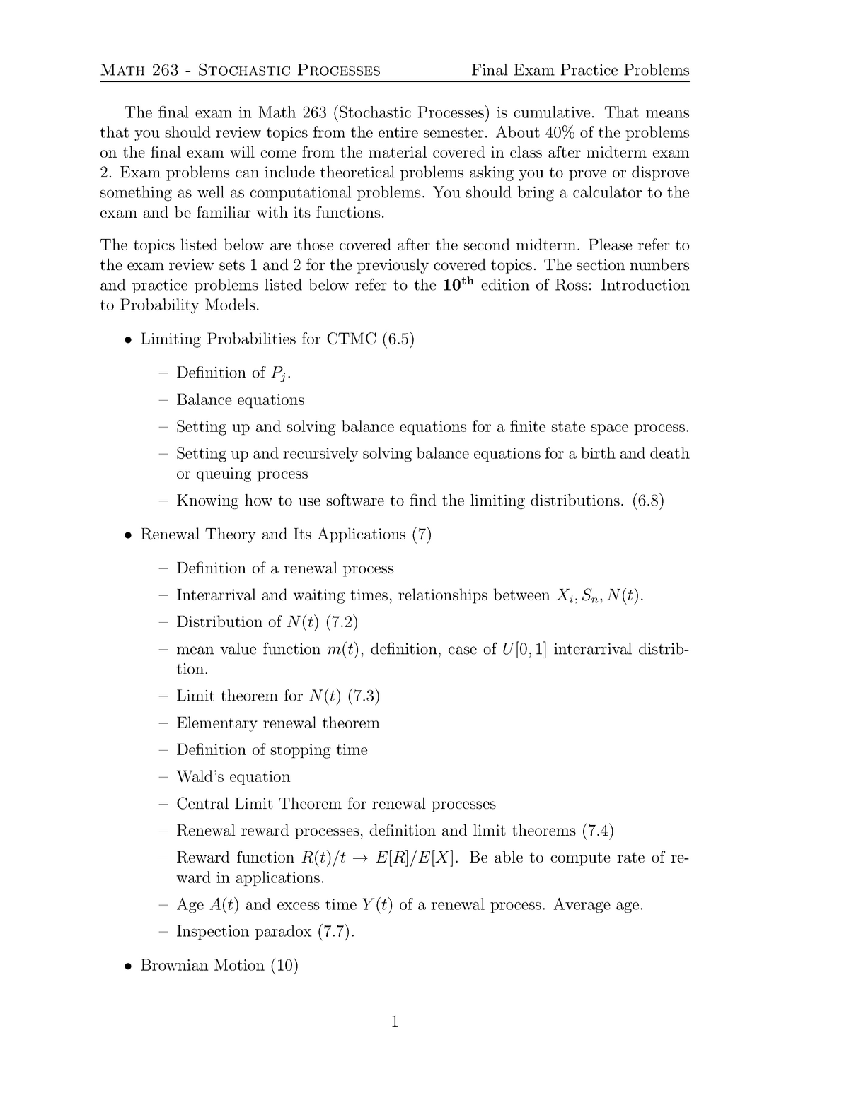 Exam Review 03 - MATH 263: Stochastic Processes - StuDocu