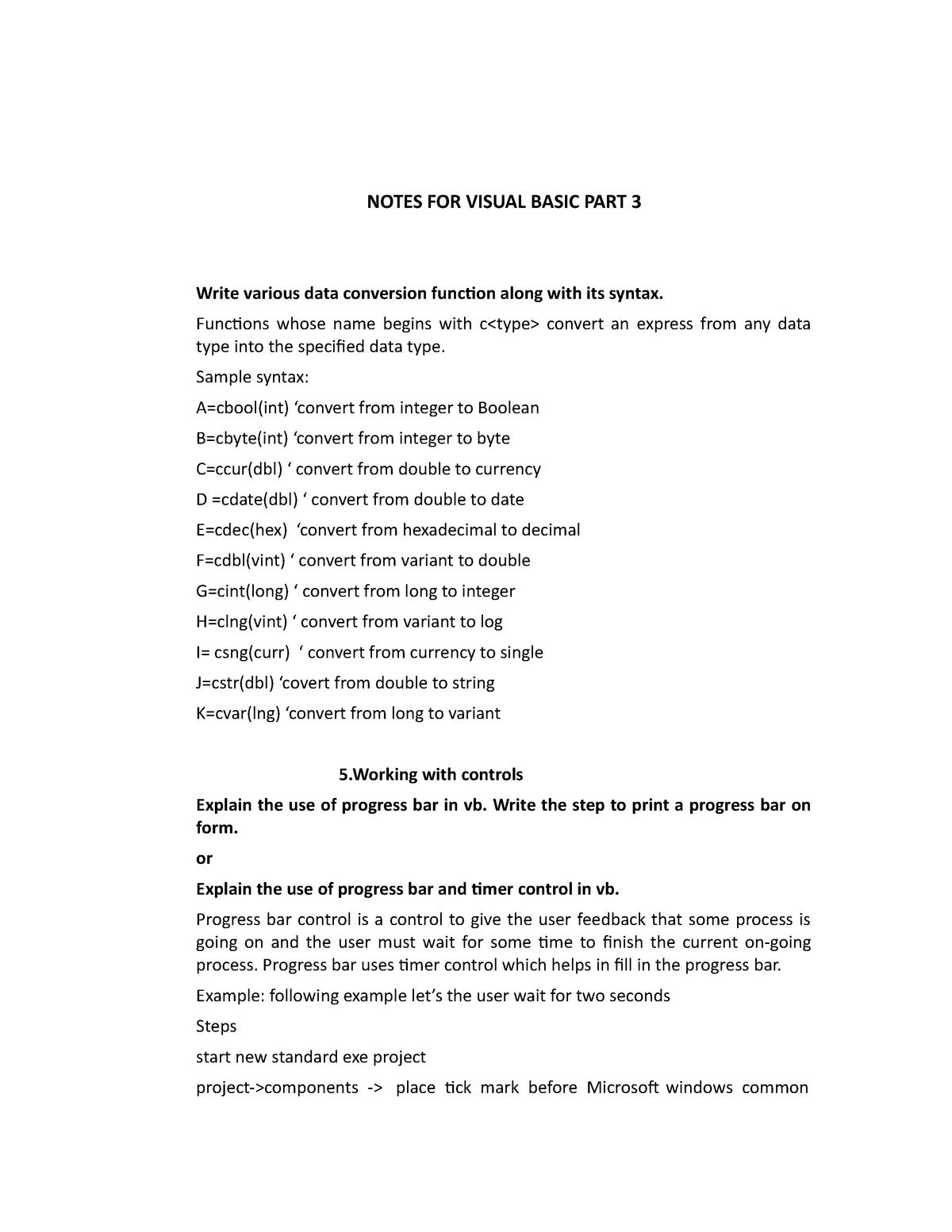 Unit-3- Notes FOR Visual Basic PART 3 - BCA405: Visual Programming