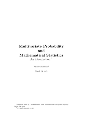Probability and Statistics Lecture notes - G100: BSc Mathematics