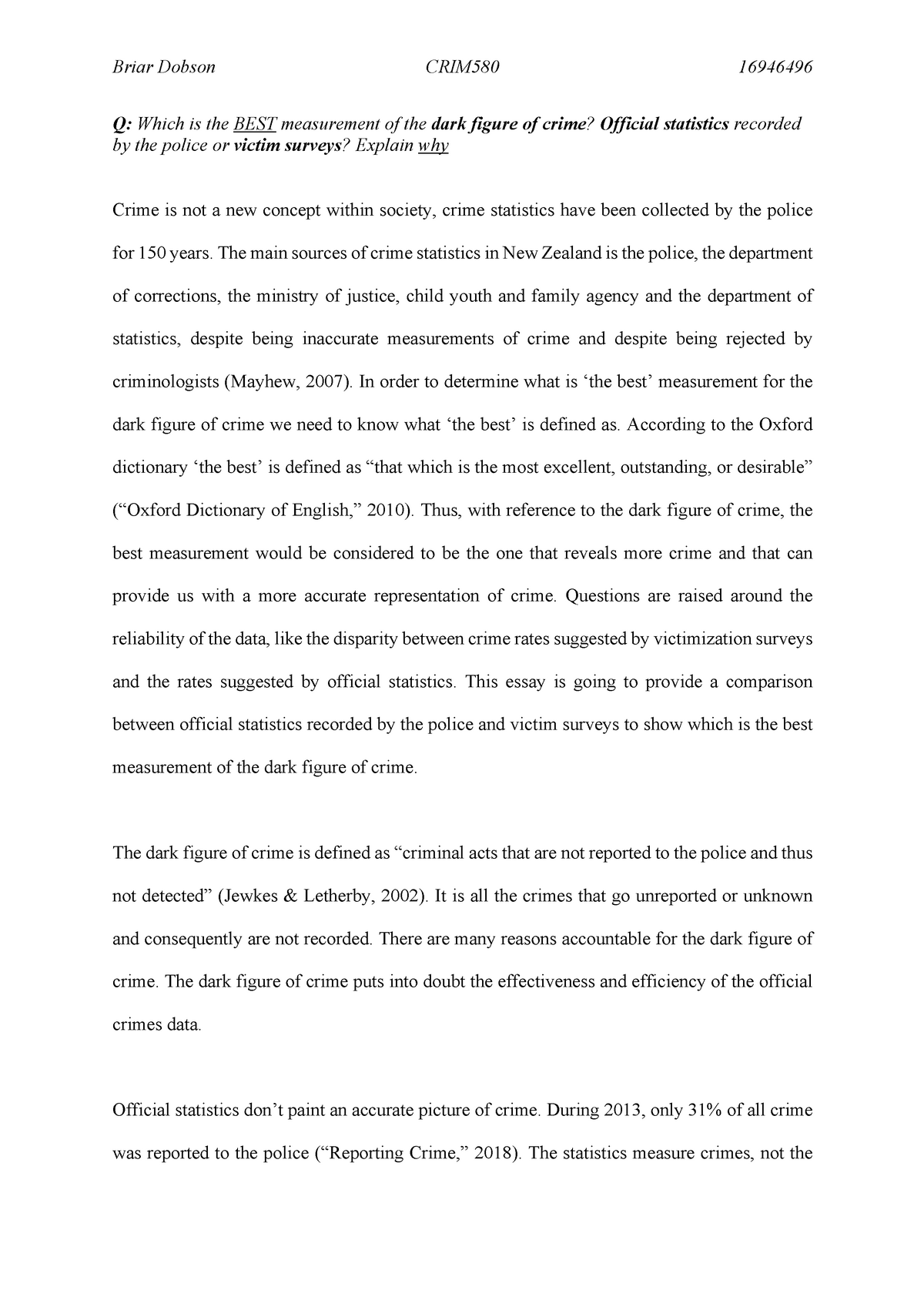 Crime statistics essay rguhs thesis in surgery