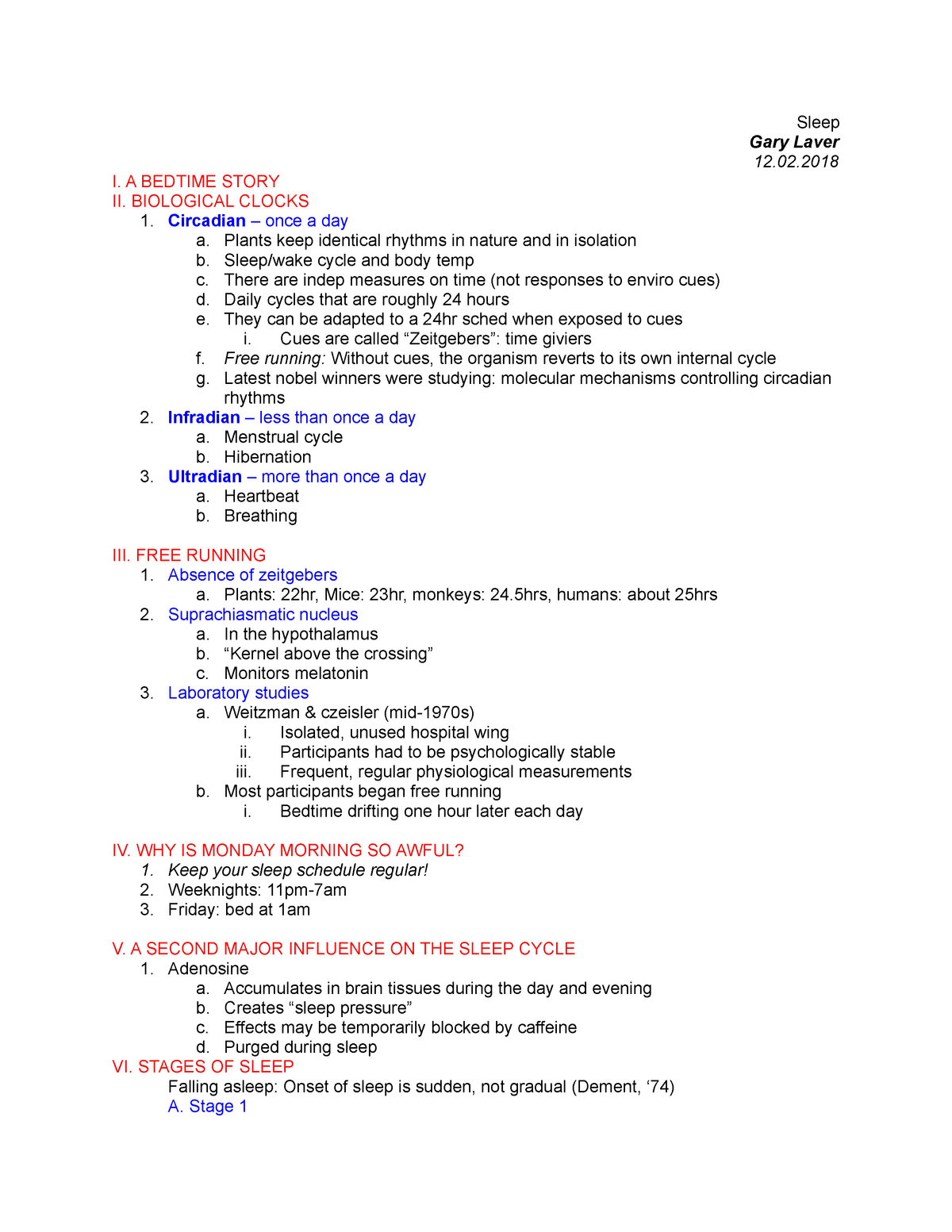 PSY 202 Sleep - Lecture notes 1 - PSY 202 General Psychology