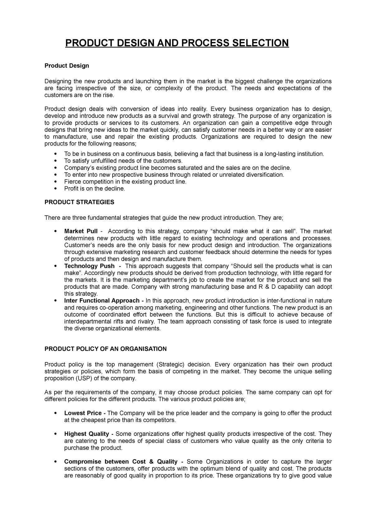 Product Design And Process Analysis Operation Management Studocu
