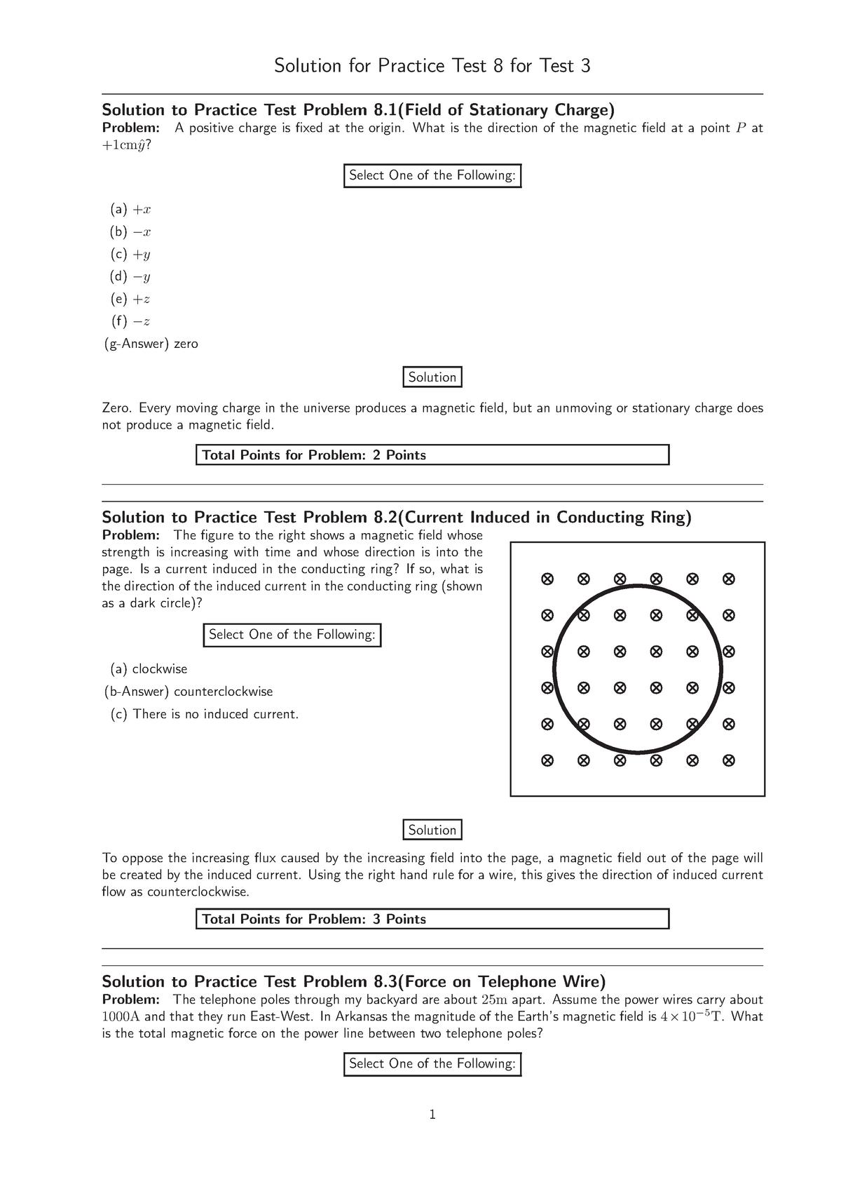 Practicetest-8-sln - PHYS 2074 Univ Physics Ii - U of A