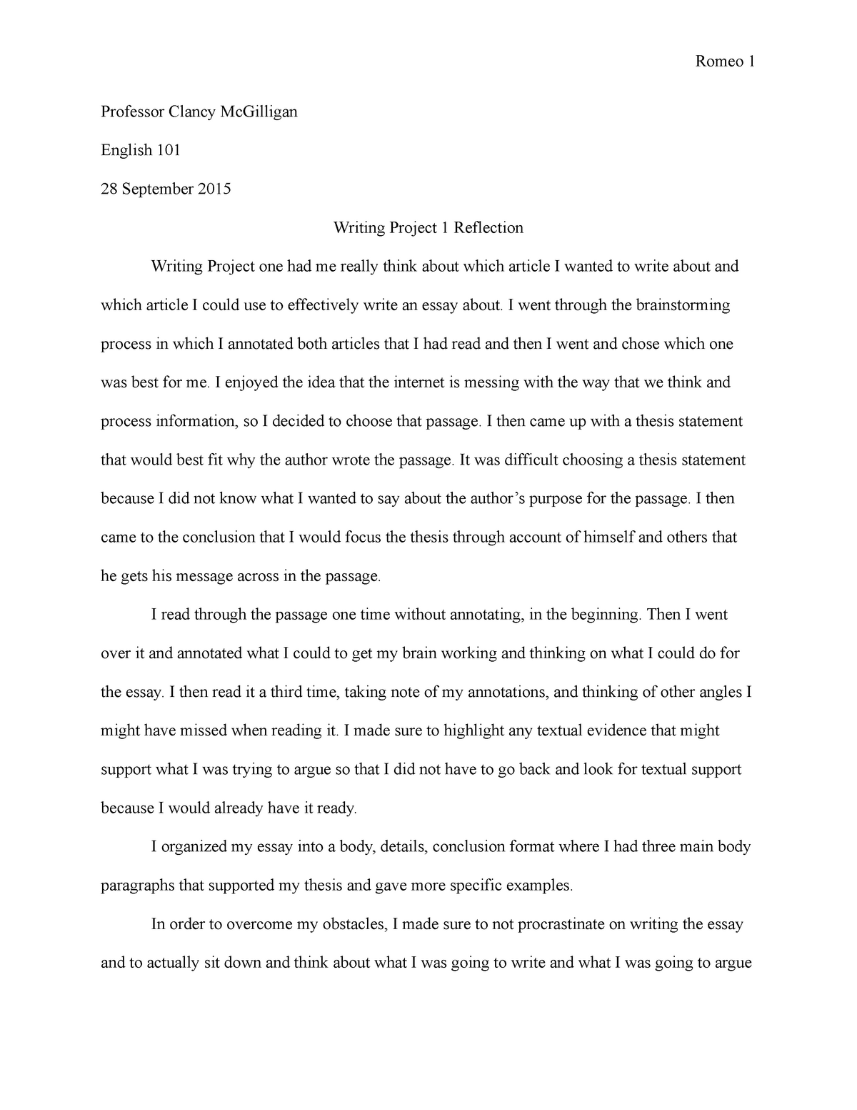 essay reflection of first writing project   grade a   studocu