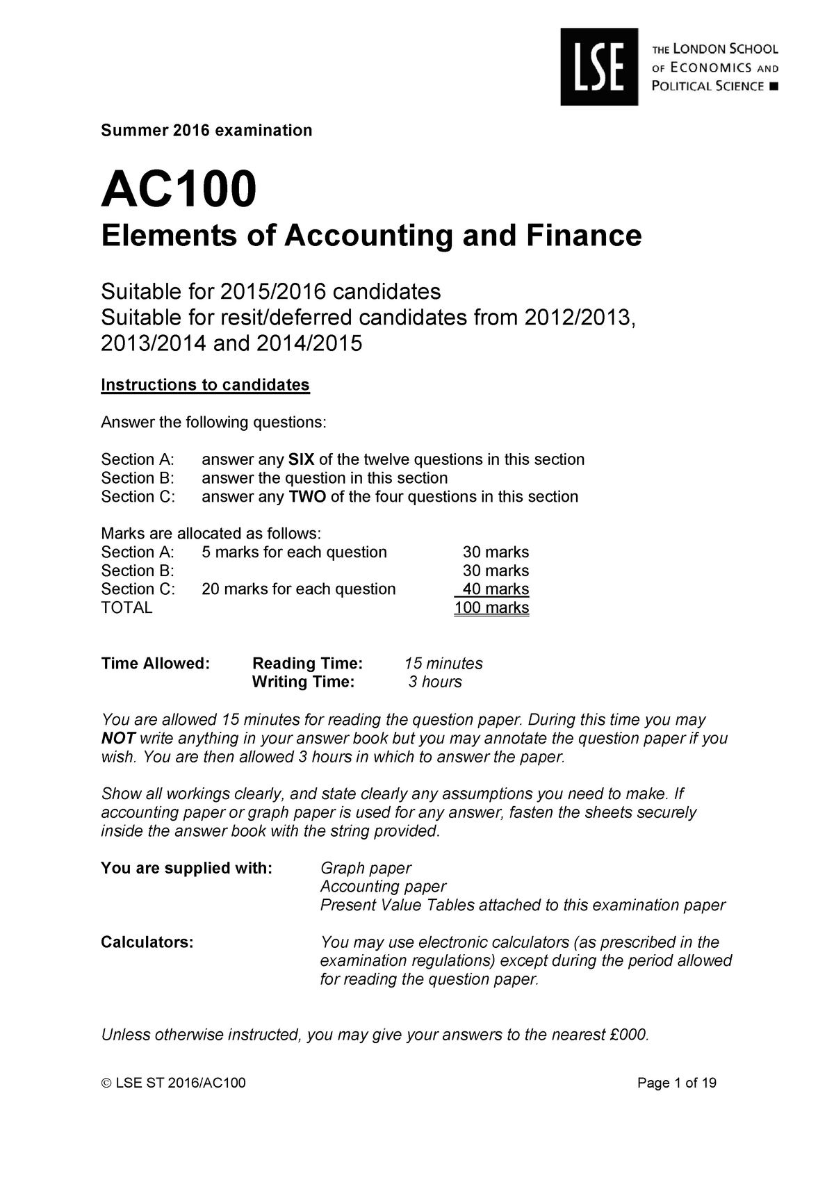 Exam 2016 - AC100: Elements of Accounting and Finance - StuDocu