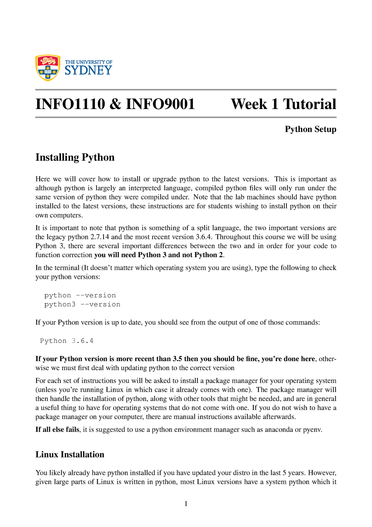 Python Setup Guide - Info1110 INFO1110 - StuDocu