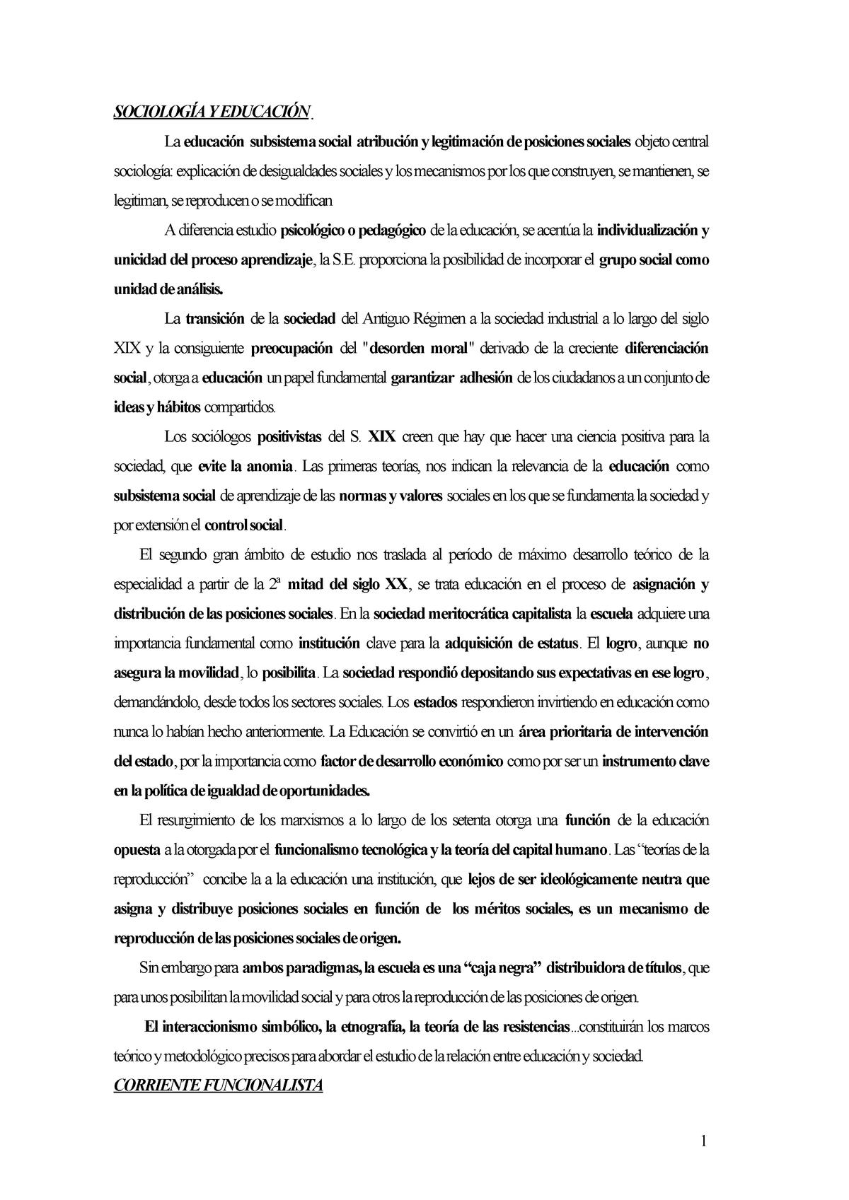 Teorías De Sociología De La Educación 21093 Uab Studocu